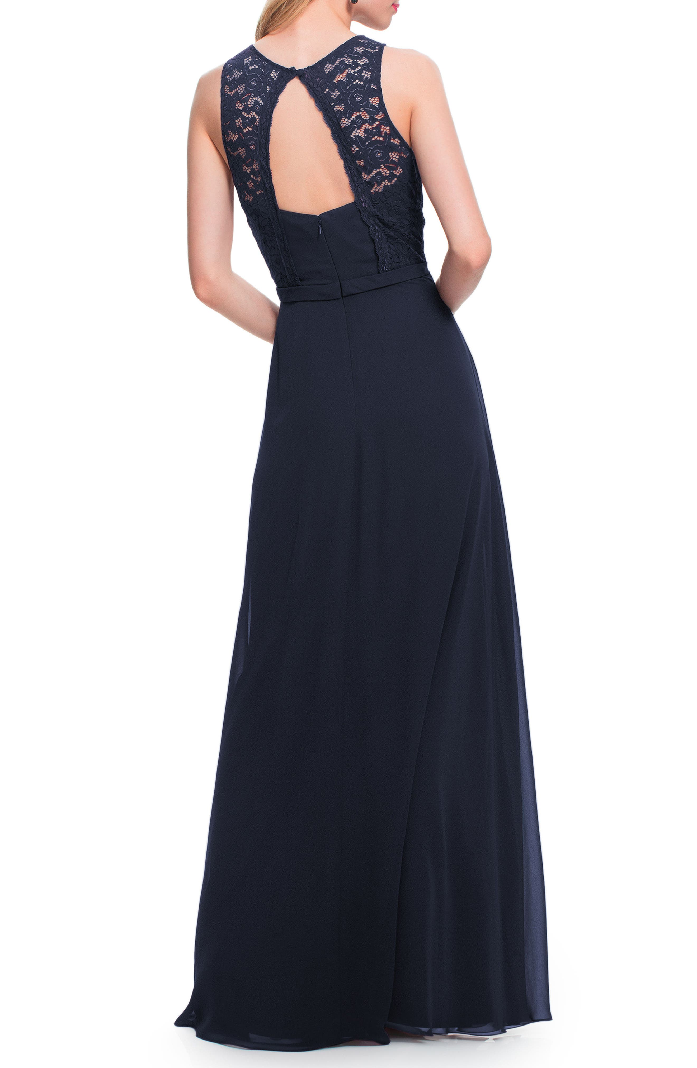 #LEVKOFF, Lace Bodice Chiffon Gown, Alternate thumbnail 2, color, NAVY