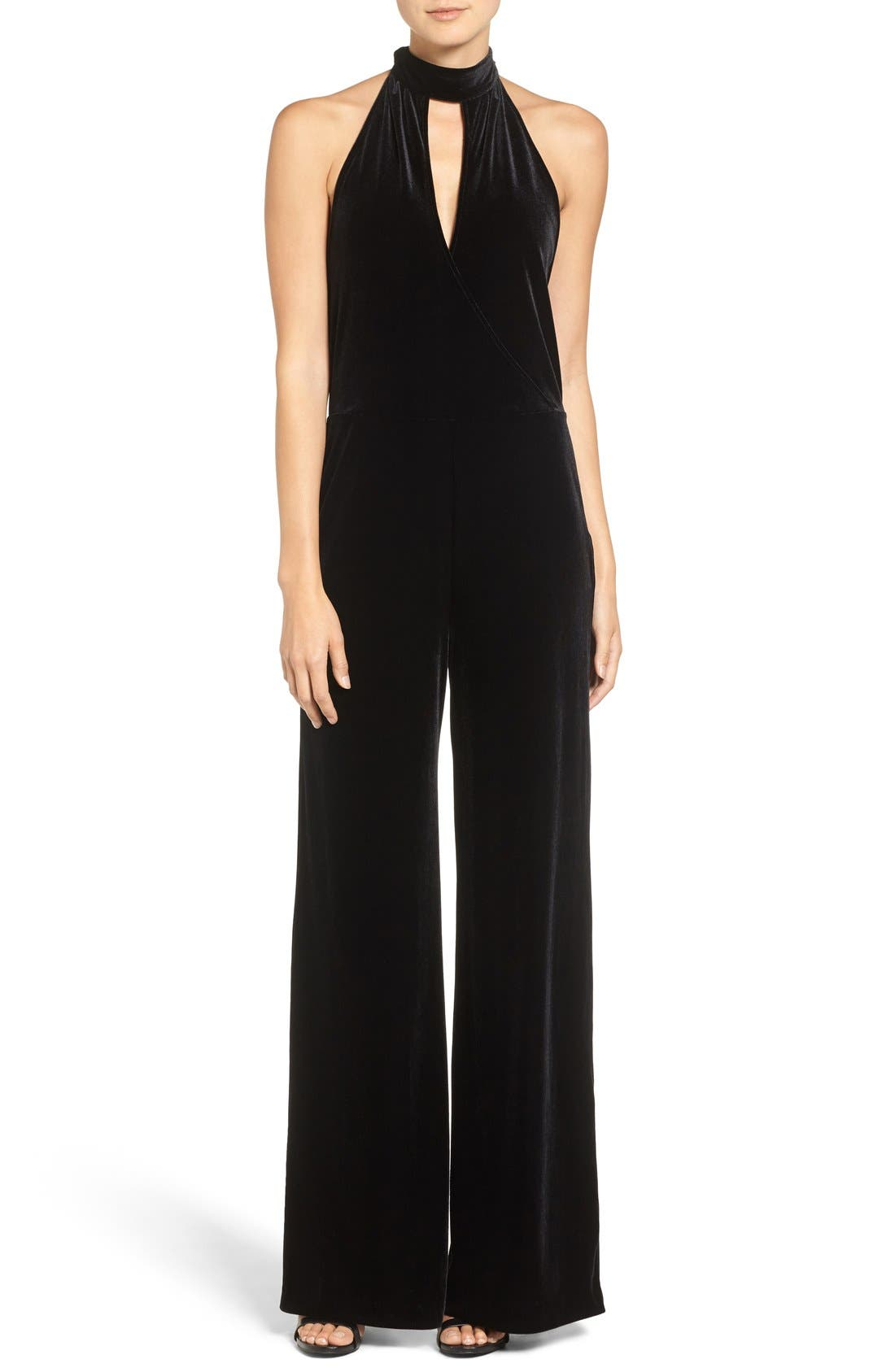 7 FOR ALL MANKIND<SUP>®</SUP>, Velvet Halter Jumpsuit, Main thumbnail 1, color, 001
