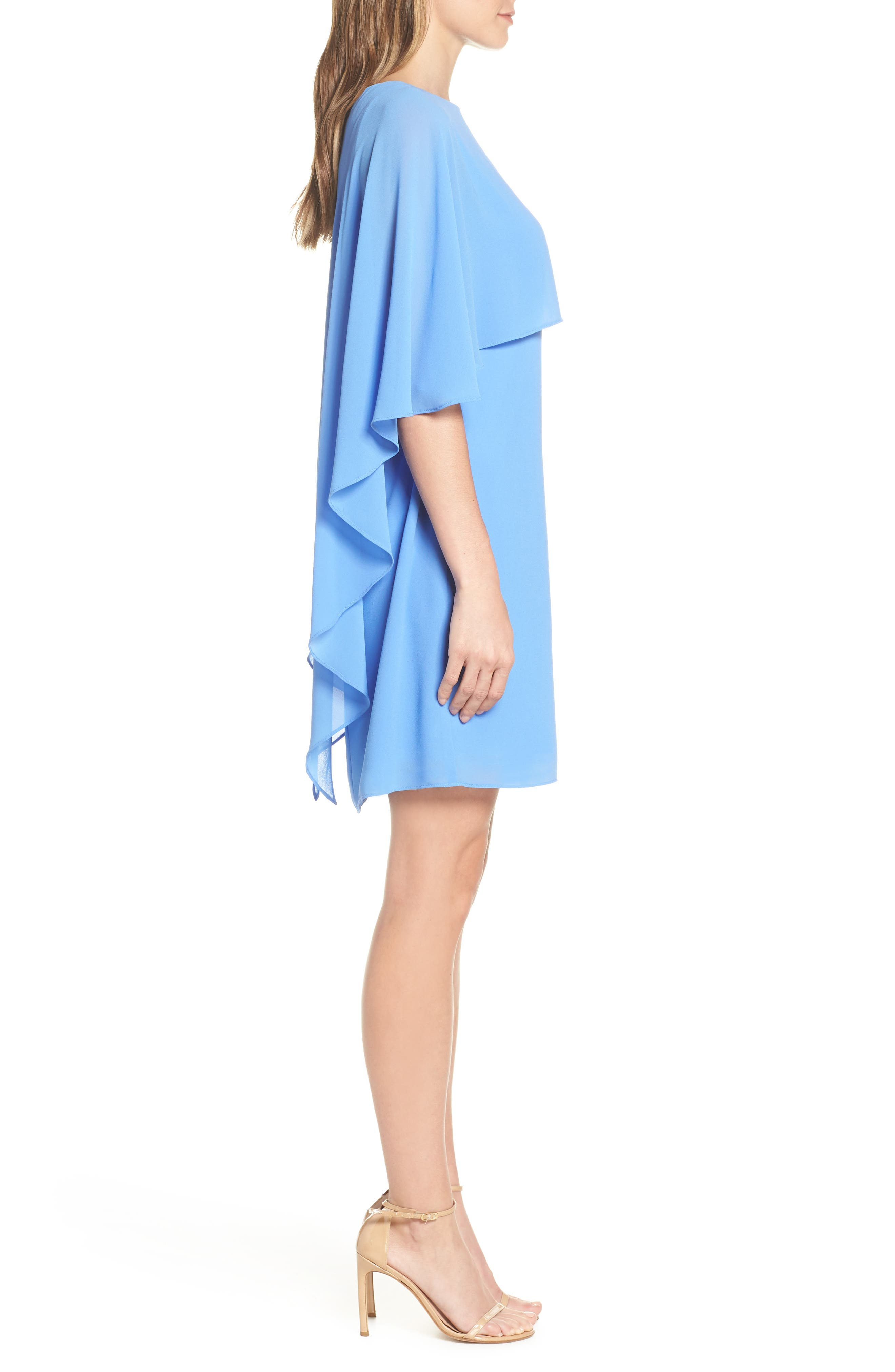 VINCE CAMUTO, Cape Overlay Dress, Alternate thumbnail 4, color, PERIWINKLE