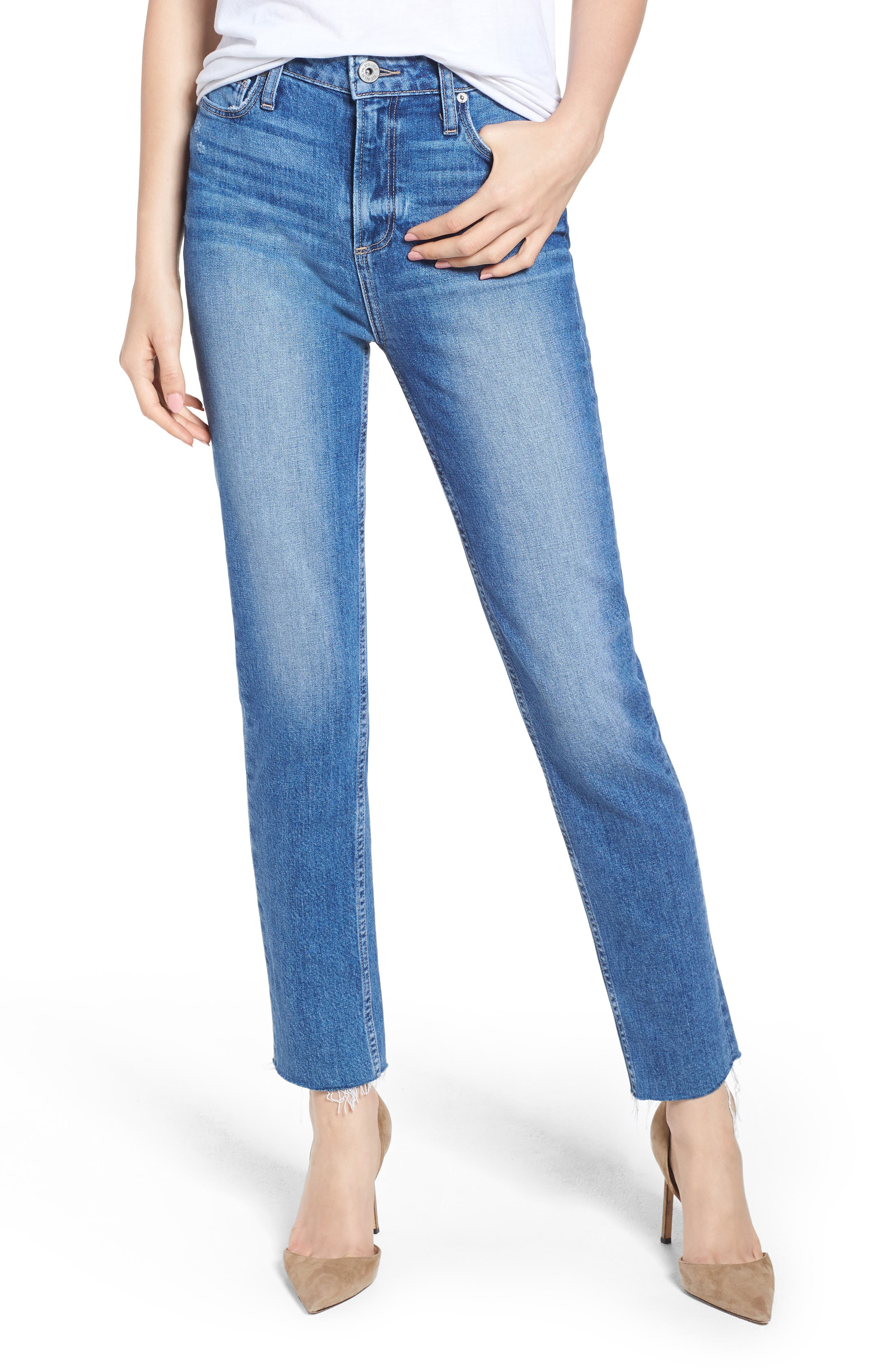 PAIGE Vintage Hoxton High Waist Slim Raw Hem Jeans, Main, color, BIRDIE