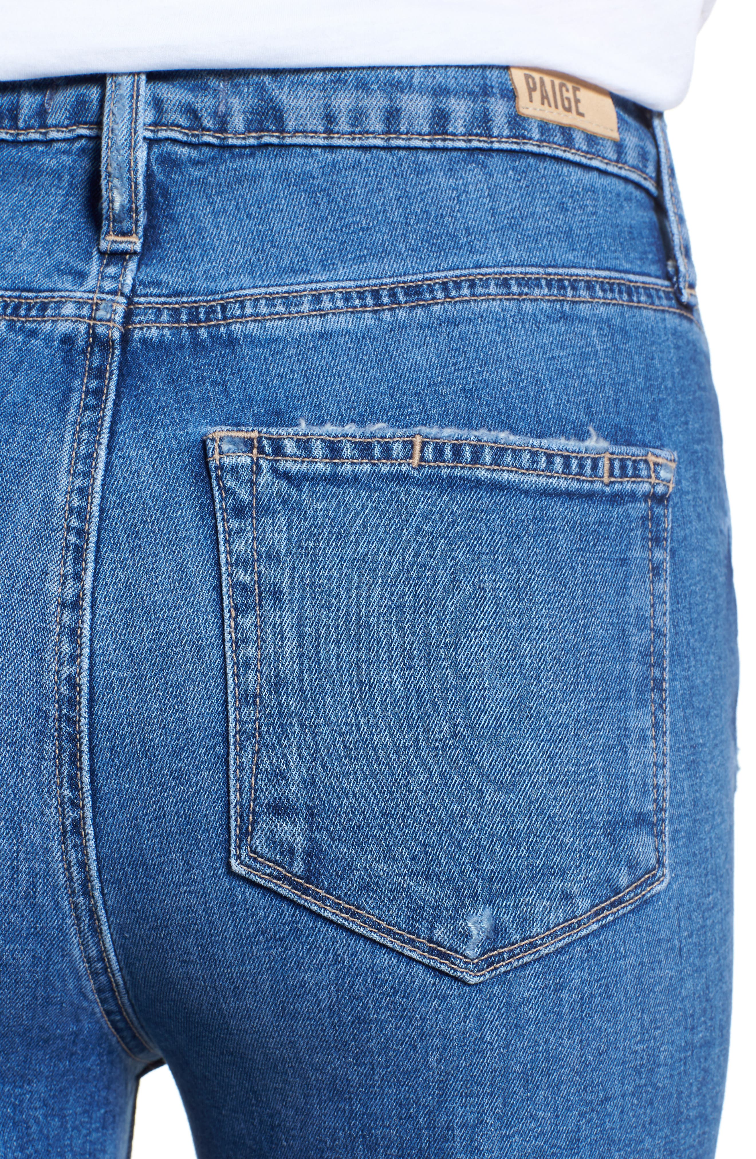 PAIGE, Vintage Hoxton High Waist Slim Raw Hem Jeans, Alternate thumbnail 4, color, BIRDIE