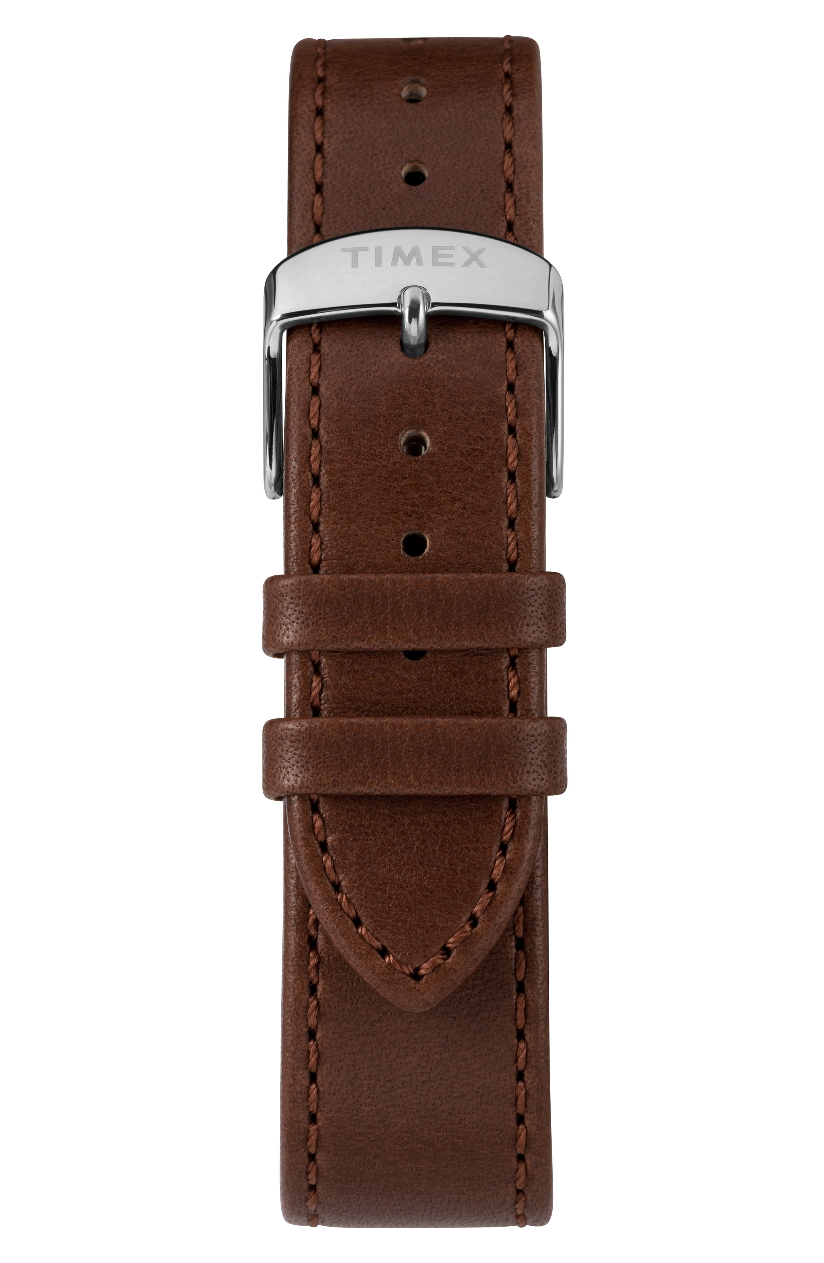 TIMEX<SUP>®</SUP>, Marlin Automatic Leather Strap Watch, 40mm, Alternate thumbnail 4, color, SILVER/ SILVER/ BROWN