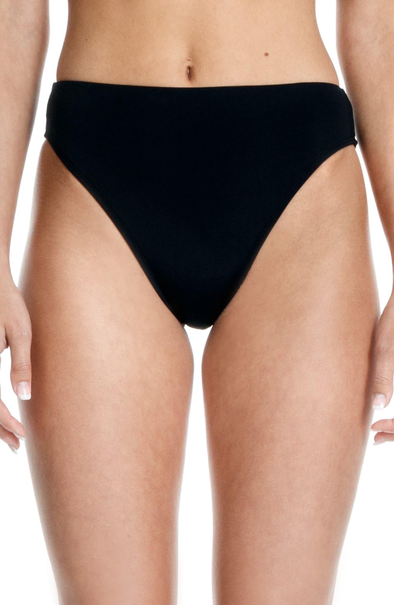 BETH RICHARDS, Heather High Waist Bikini Bottoms, Main thumbnail 1, color, BLACK