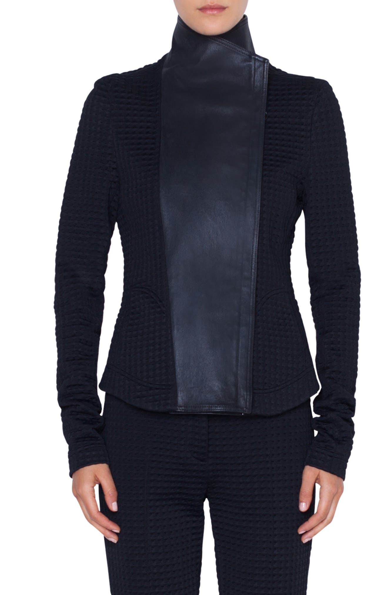 AKRIS PUNTO, Leather & Jersey Biker Jacket, Main thumbnail 1, color, NERO