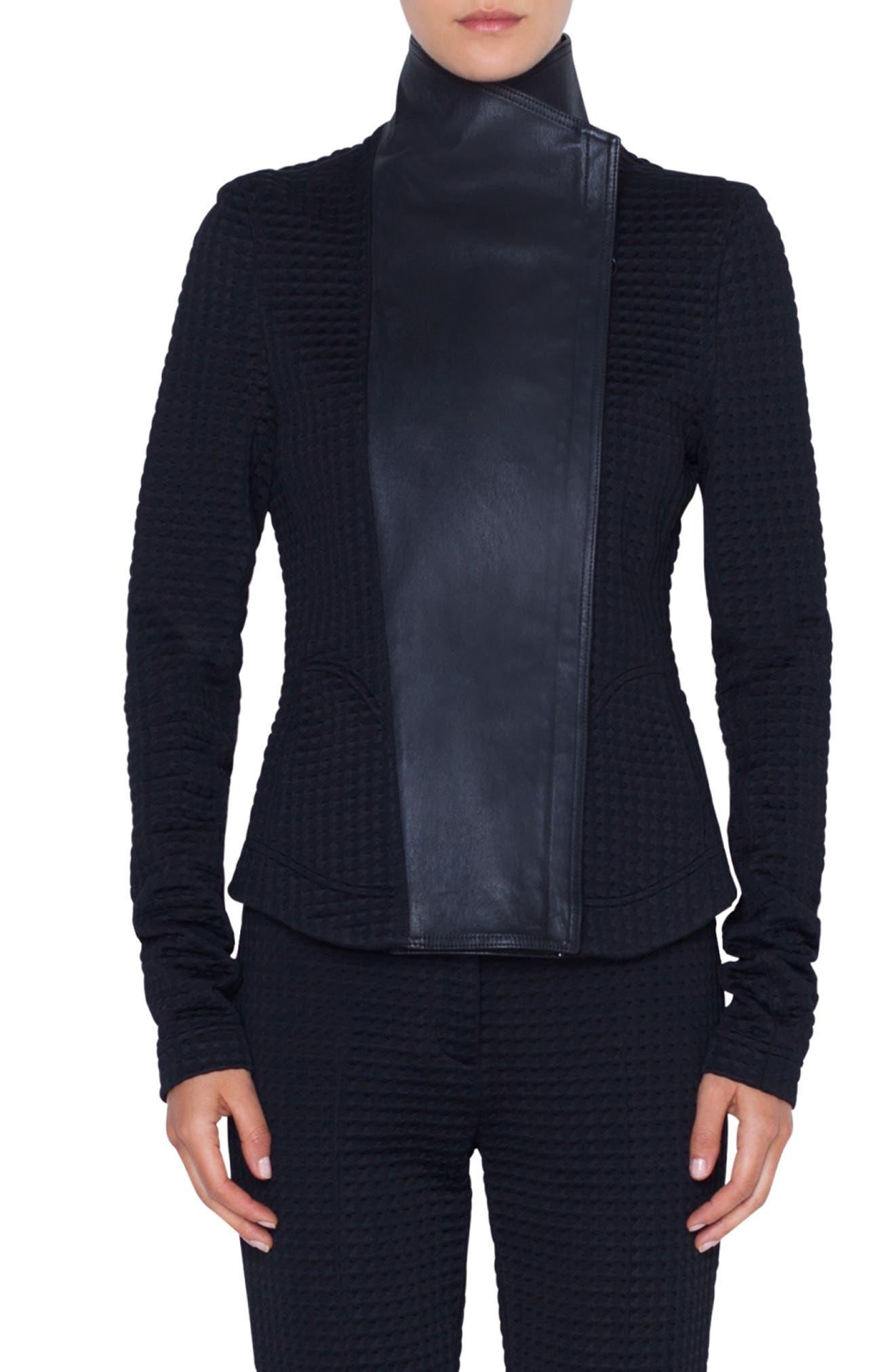 AKRIS PUNTO Leather & Jersey Biker Jacket, Main, color, NERO