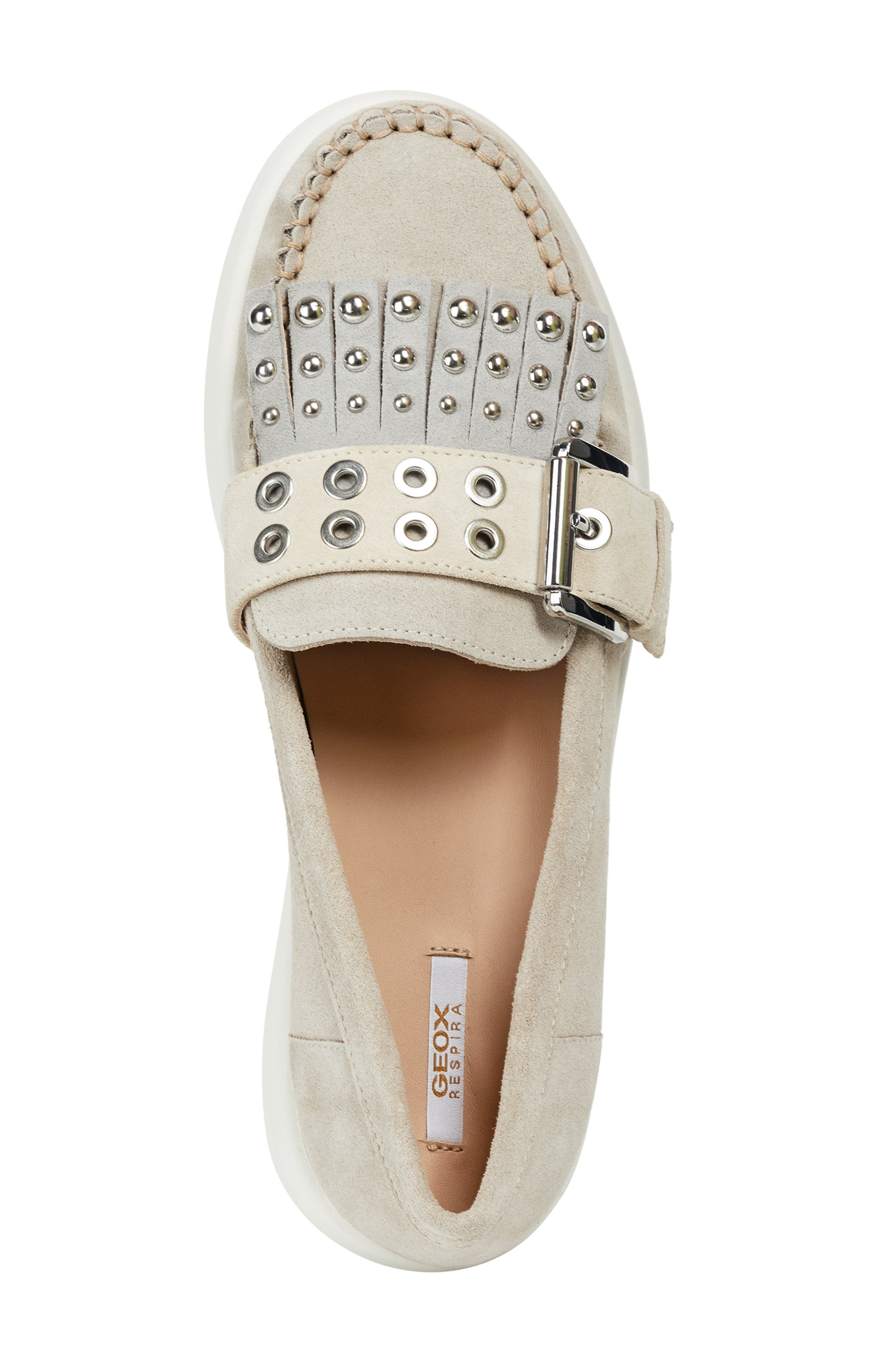 GEOX, Wimbley Studded Kiltie Loafer, Alternate thumbnail 5, color, LIGHT TAUPE/ GREY SUEDE