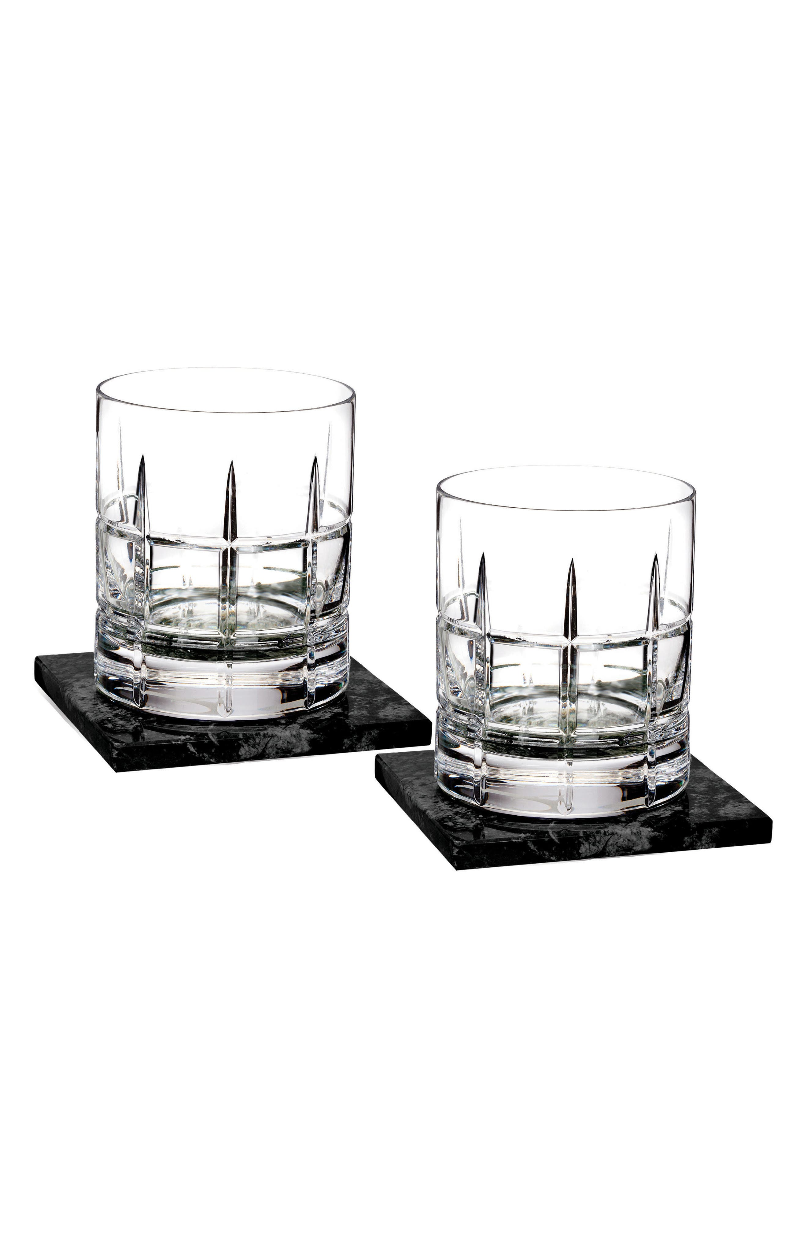 WATERFORD Cluin Set of 2 Lead Crystal Double Old Fashioned Glasses with Coasters, Main, color, CRYSTAL