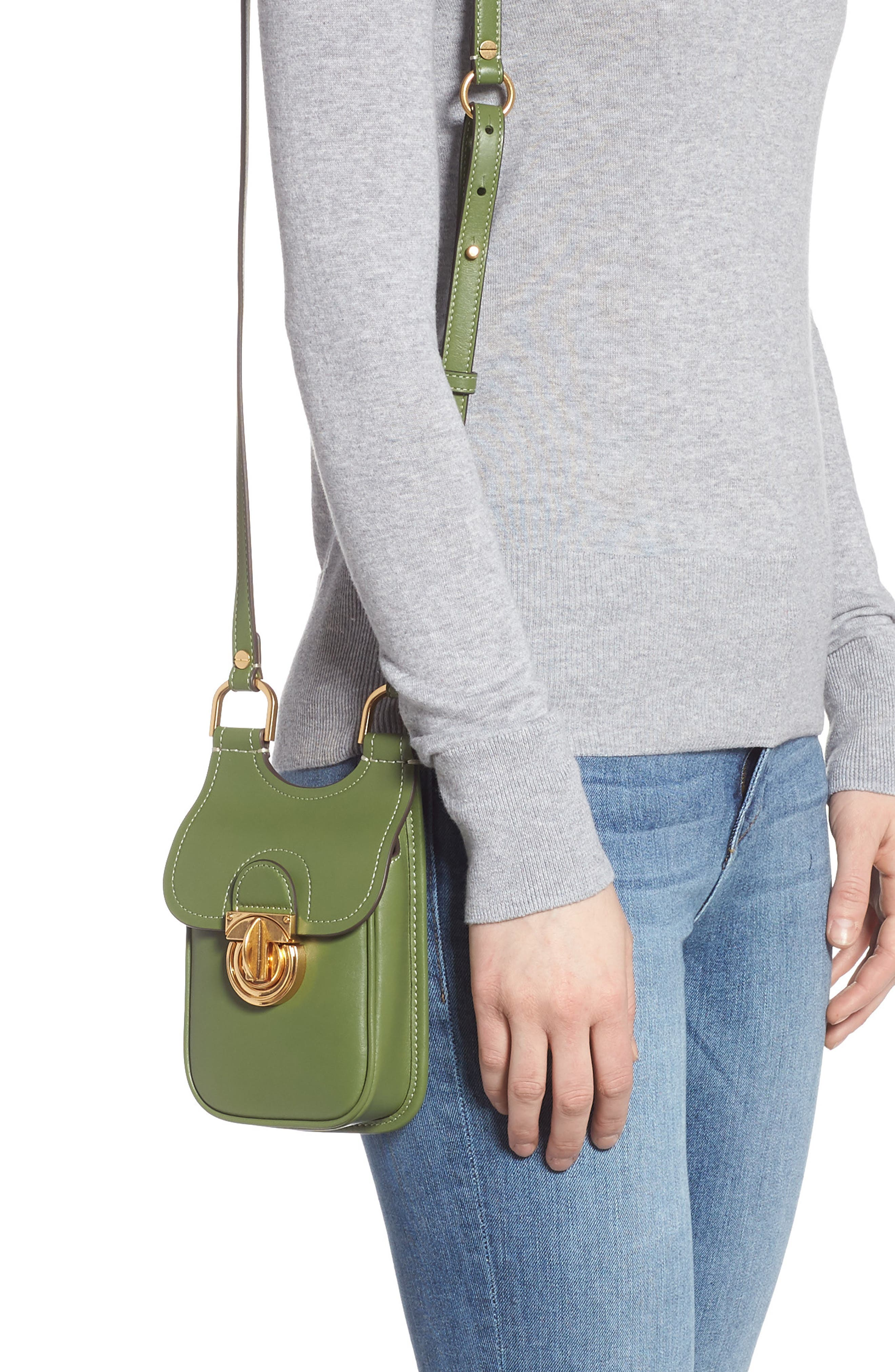 TORY BURCH, James Leather Phone Crossbody Bag, Alternate thumbnail 2, color, SPINACH