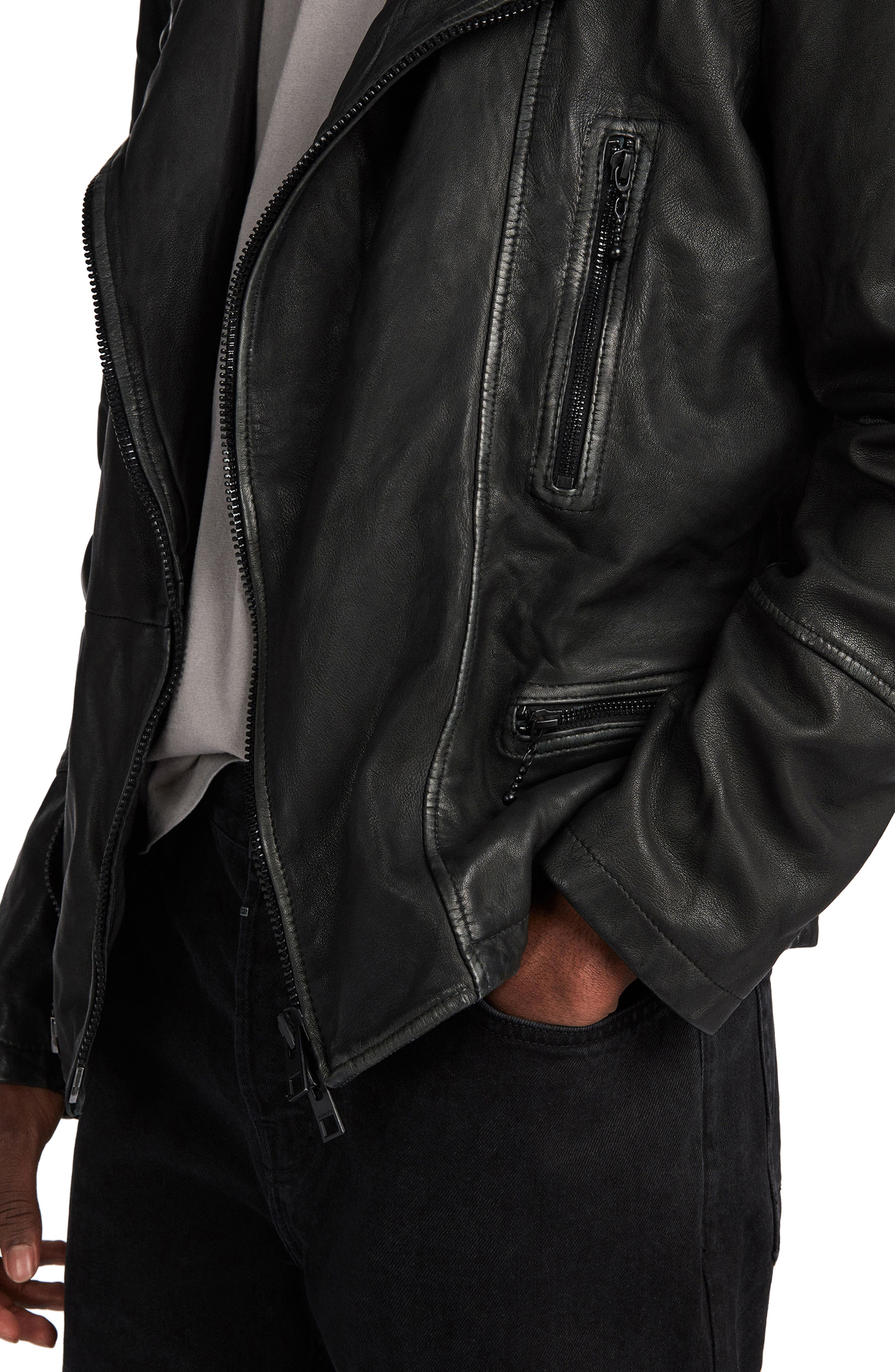 ALLSAINTS, Cargo Biker Slim Fit Leather Jacket, Alternate thumbnail 6, color, BLACK GREY