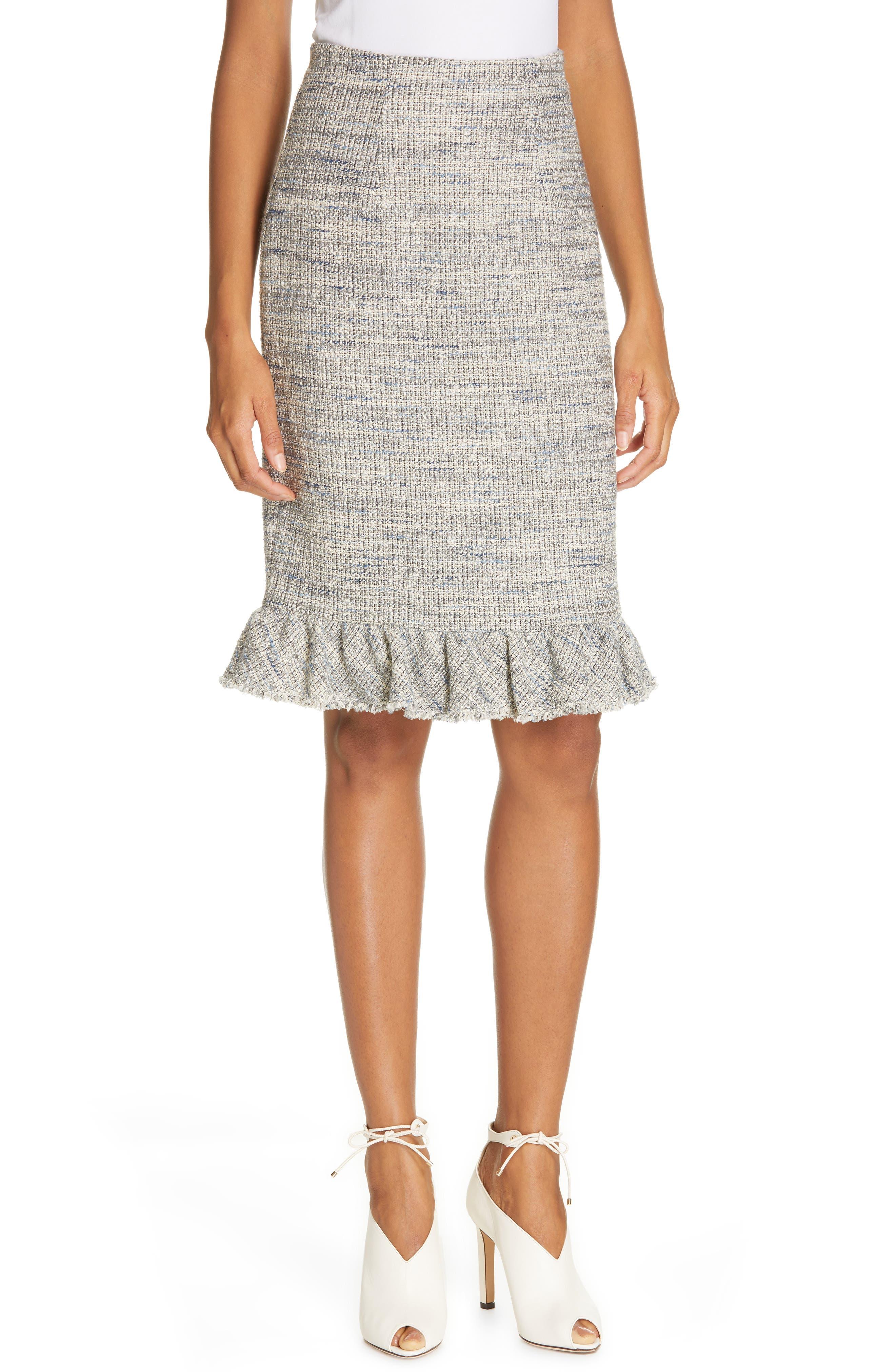 REBECCA TAYLOR, Tweed Ruffle Hem Skirt, Main thumbnail 1, color, 020