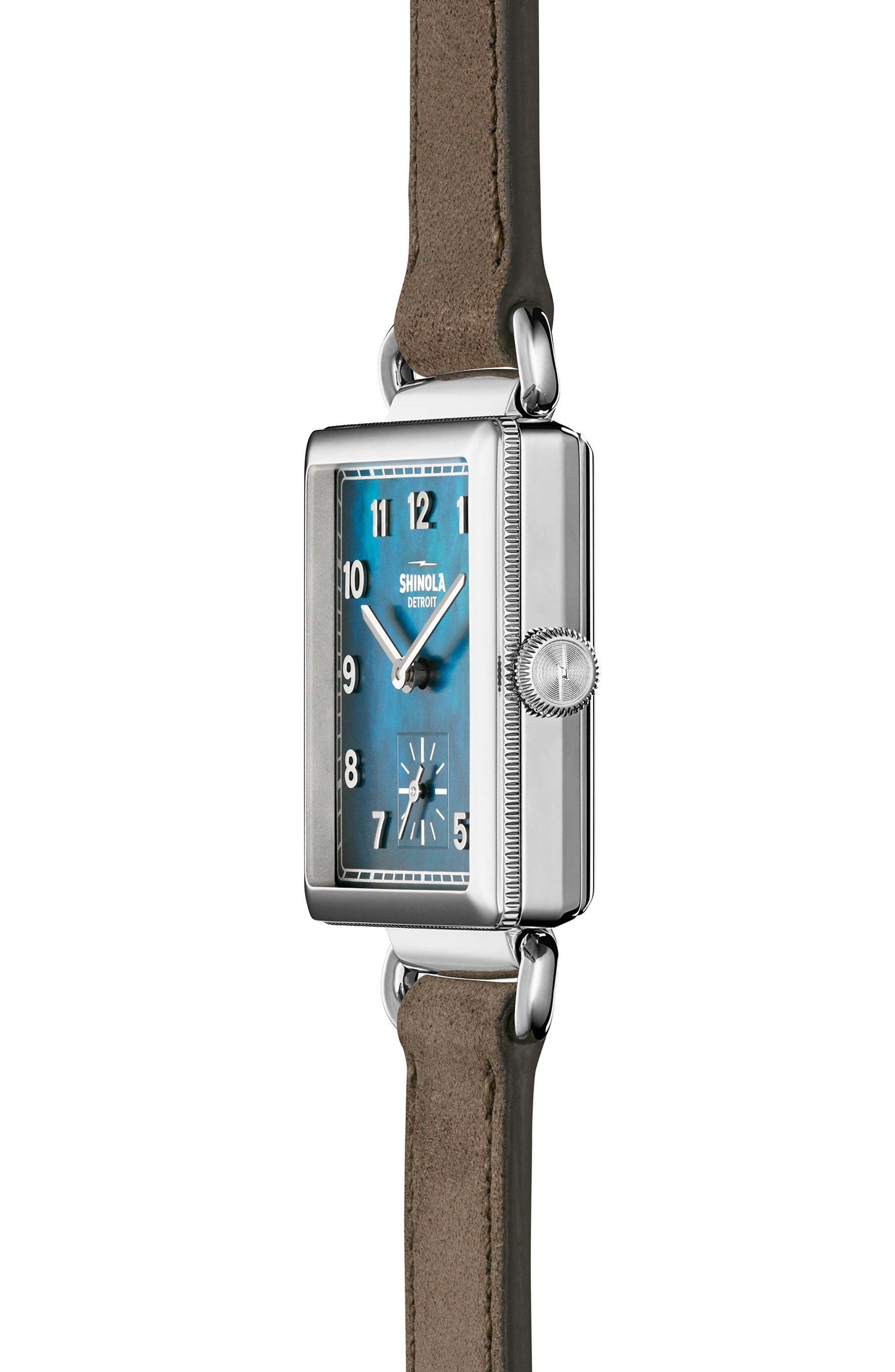 SHINOLA, Cass Leather Strap Watch, 28mm, Alternate thumbnail 2, color, GREY/ NAVY MOTHER OF PEARL