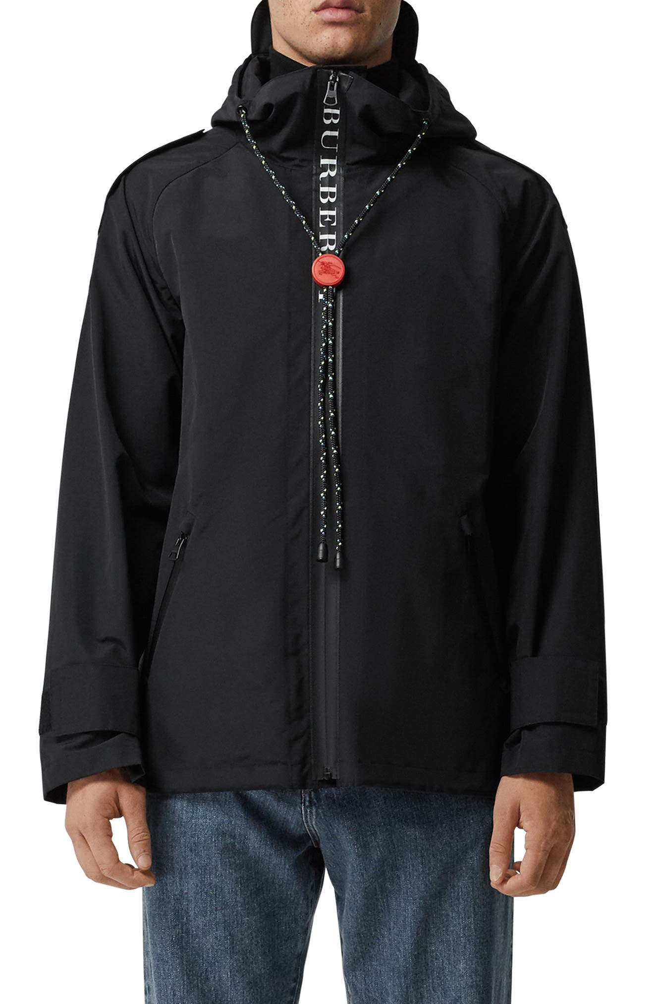 BURBERRY Roberts Nylon Hooded Jacket, Main, color, BLACK