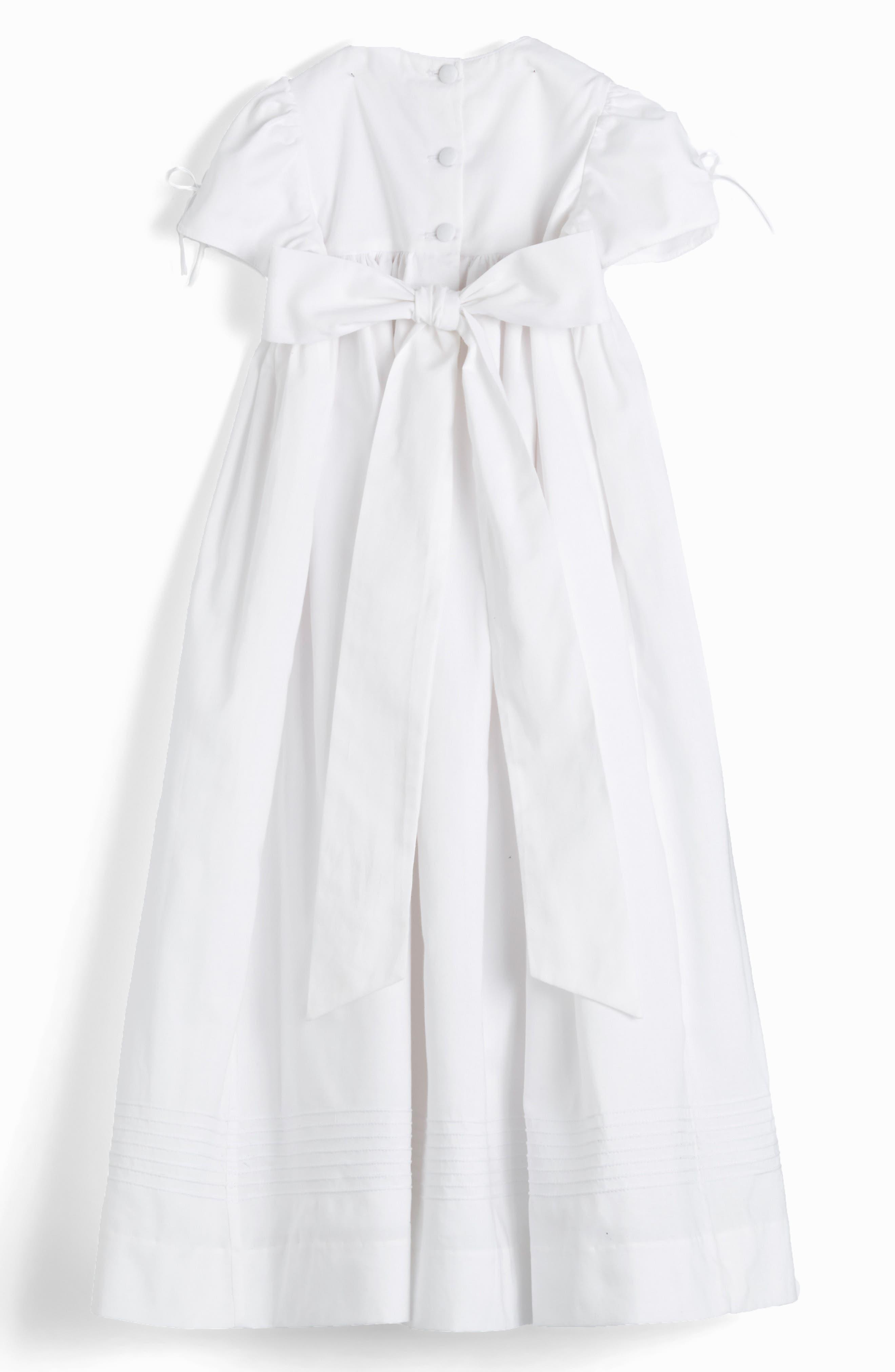 ISABEL GARRETON, 'Pearls' Christening Gown & Bonnet, Alternate thumbnail 4, color, WHITE