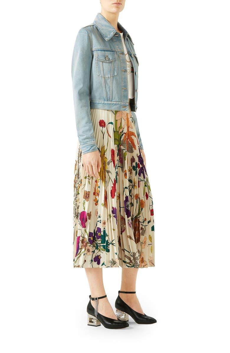 61cfb2ff6f340 Gothic Floral Print Pleated Silk Twill Midi Skirt in Neutrals