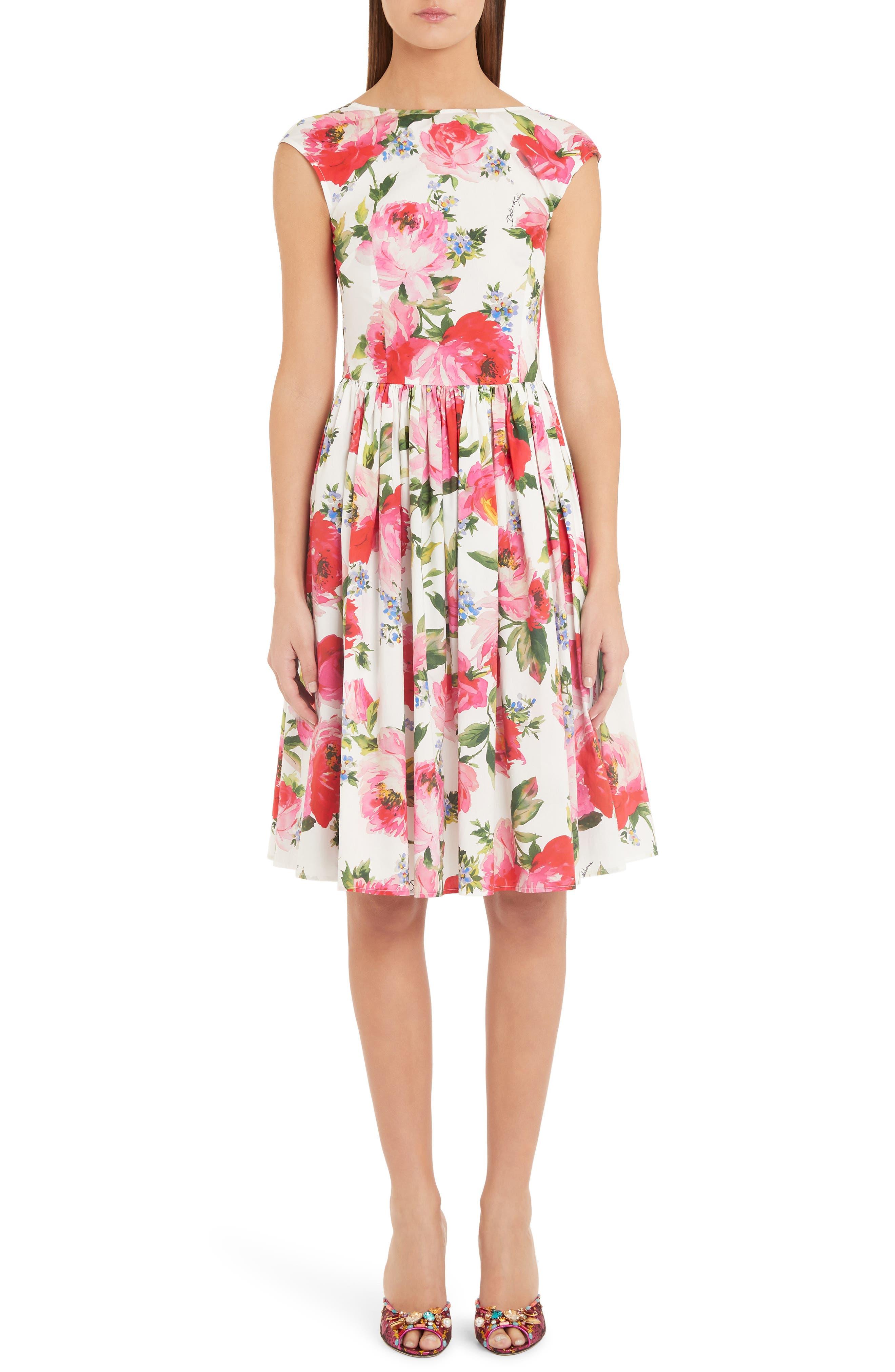 Dolce & gabbana Floral Print Cotton Poplin Dress, 8 IT - White