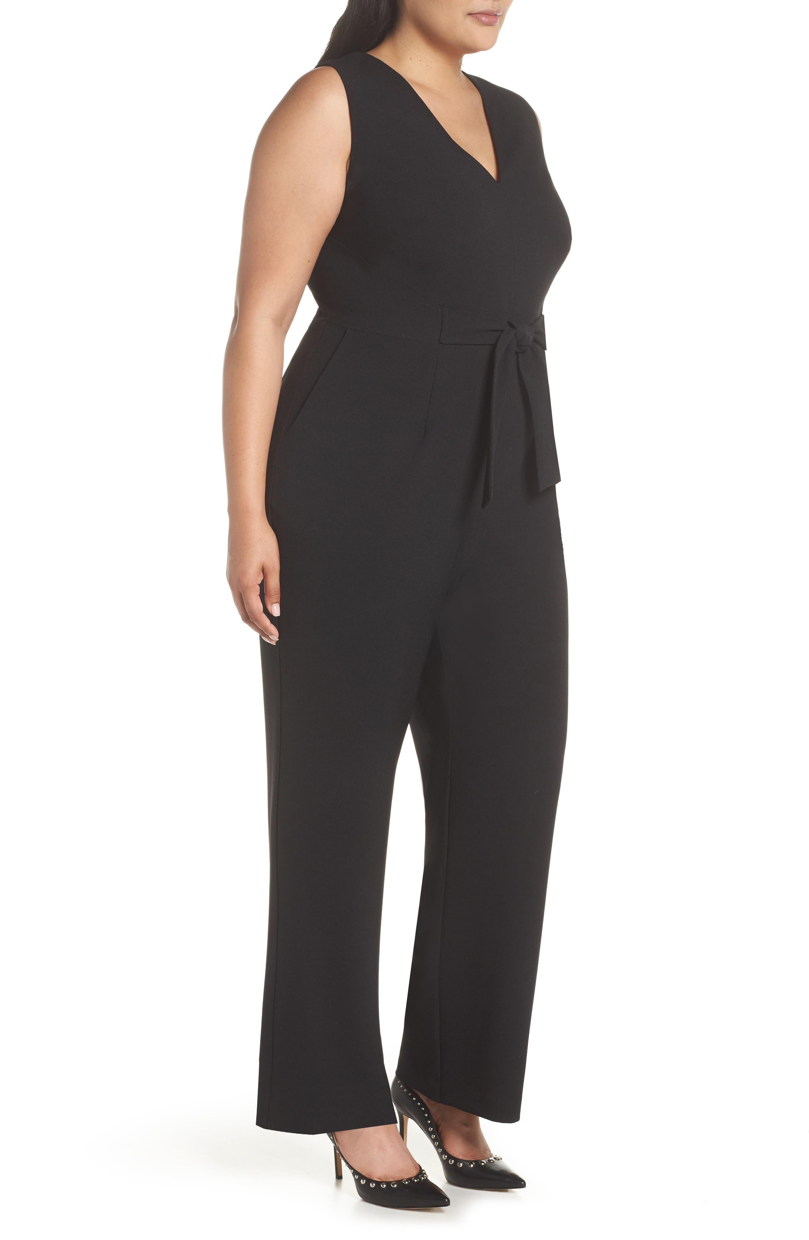 VINCE CAMUTO, Crepe Tie Front Wide Leg Jumpsuit, Alternate thumbnail 4, color, BLACK