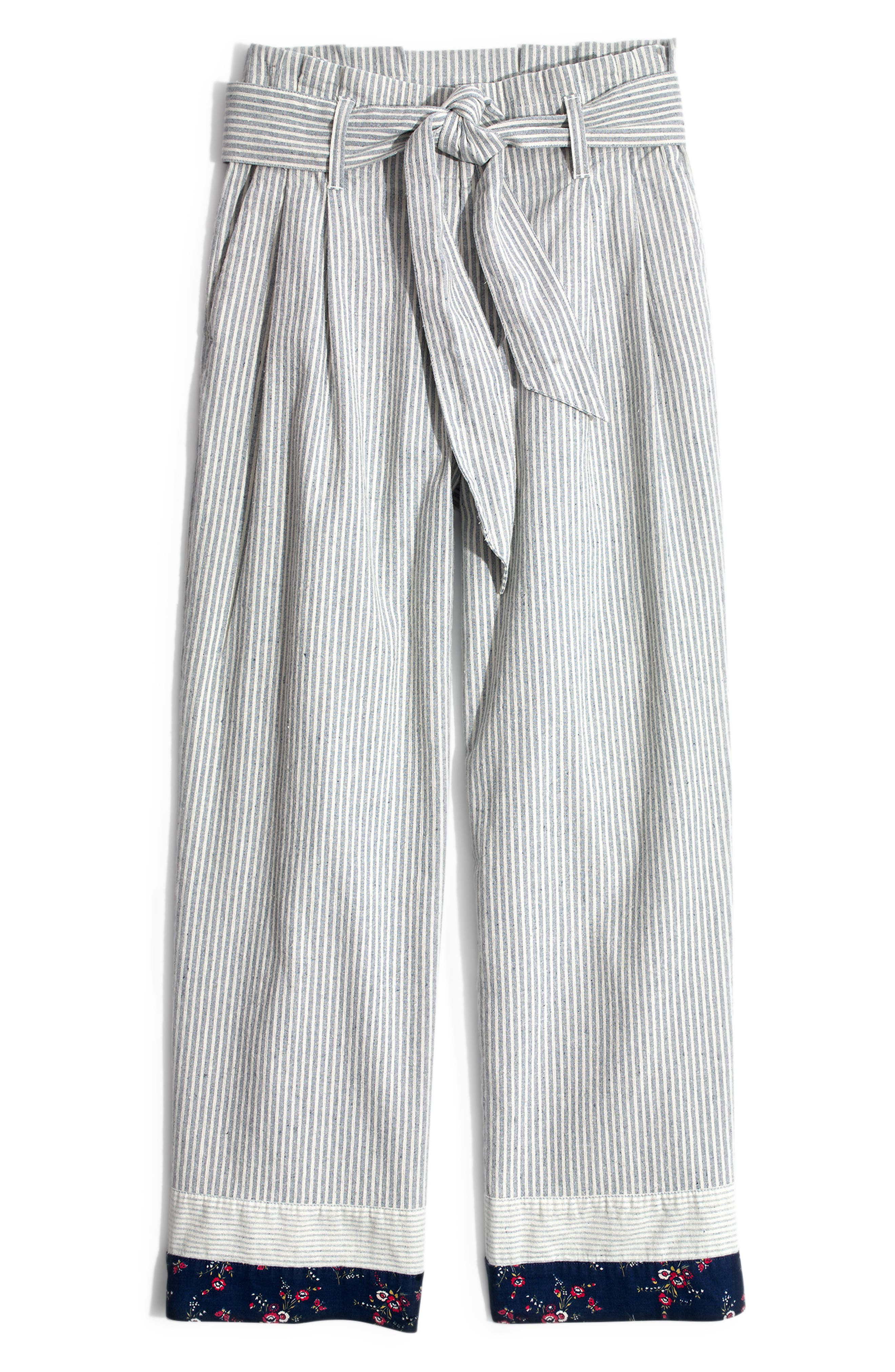 MADEWELL, x The New Denim Project<sup>®</sup> Patchwork Paperbag Pants, Alternate thumbnail 6, color, BLUE RAILROAD STRIPE