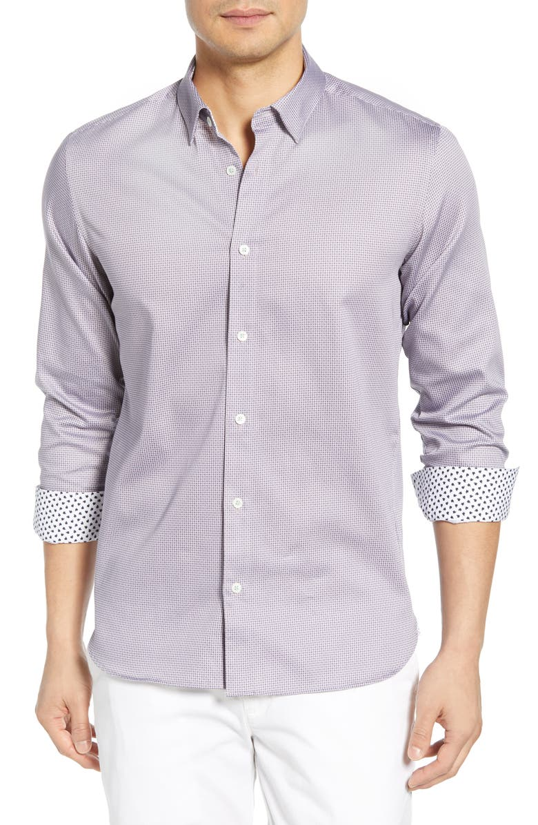 Ted Baker Bloosem Semi-plain Regular Fit Button-down Shirt - 100% Exclusive In Lilac