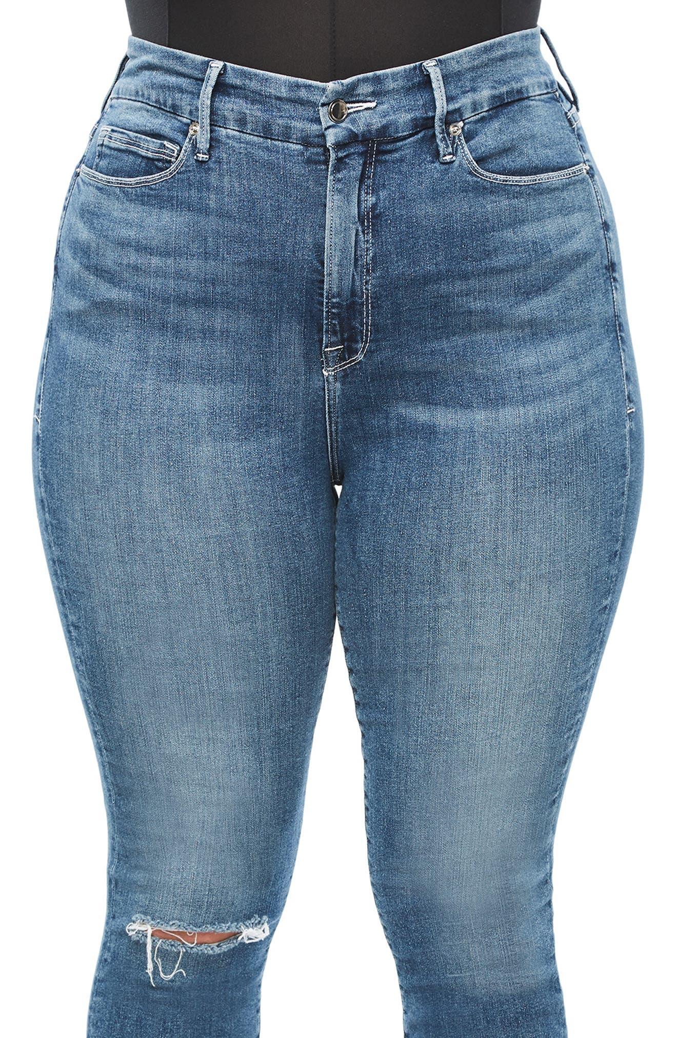 GOOD AMERICAN, Good Legs High Waist Skinny Jeans, Alternate thumbnail 9, color, BLUE186