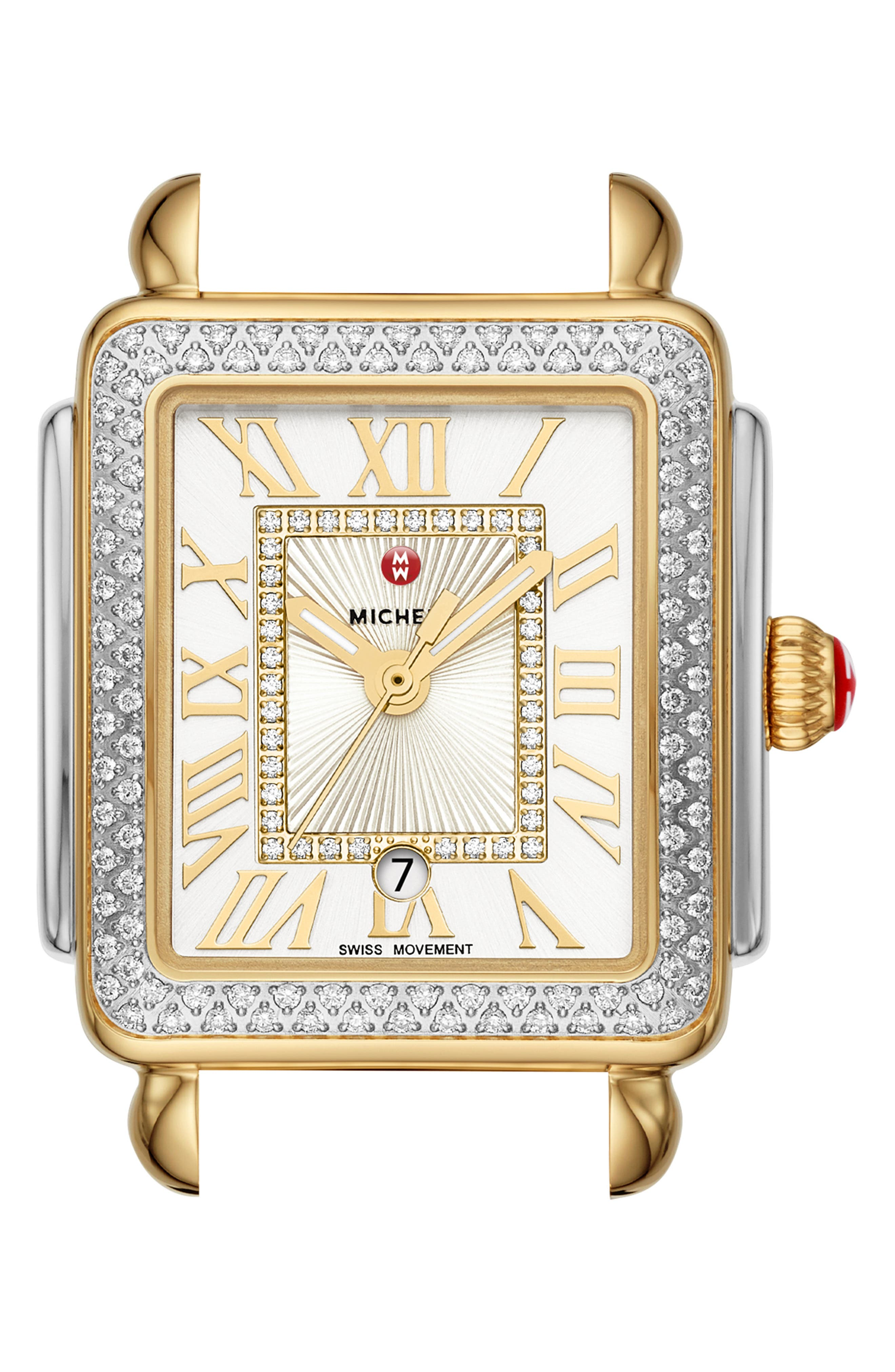 MICHELE, Deco Madison Mid Diamond Dial Watch Head, 29mm x 31mm, Main thumbnail 1, color, GOLD/ SILVER/ WHITE