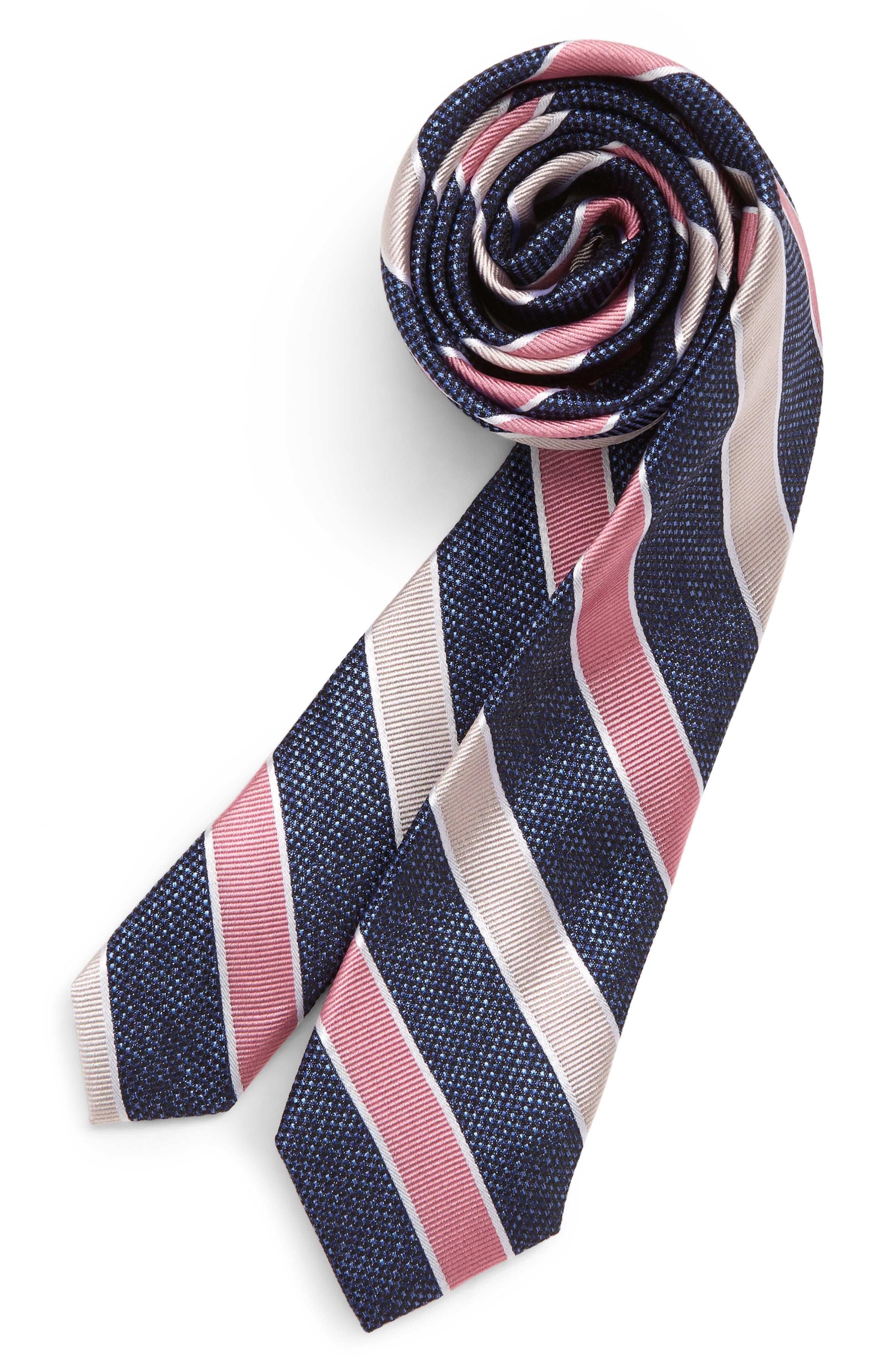 NORDSTROM Landon Stripe Silk Tie, Main, color, PINK
