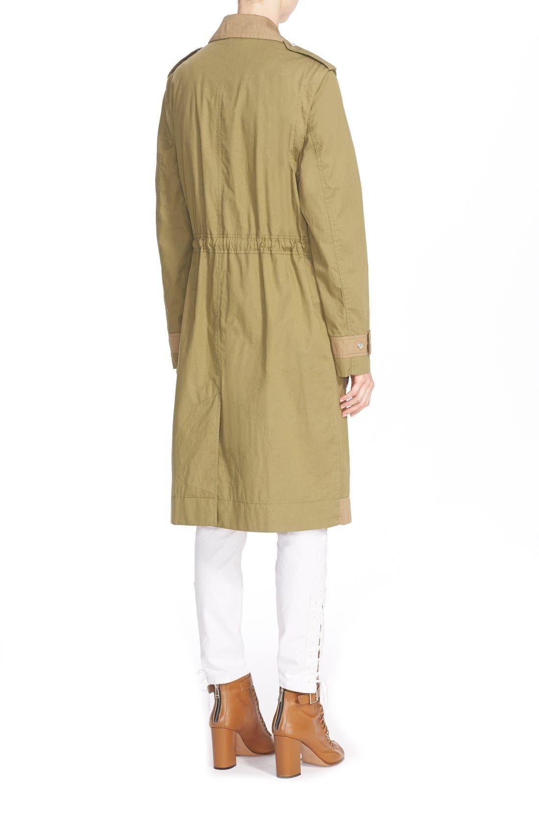 BELSTAFF, Leather Trim Tactical Cotton Gabardine Coat, Alternate thumbnail 4, color, 309