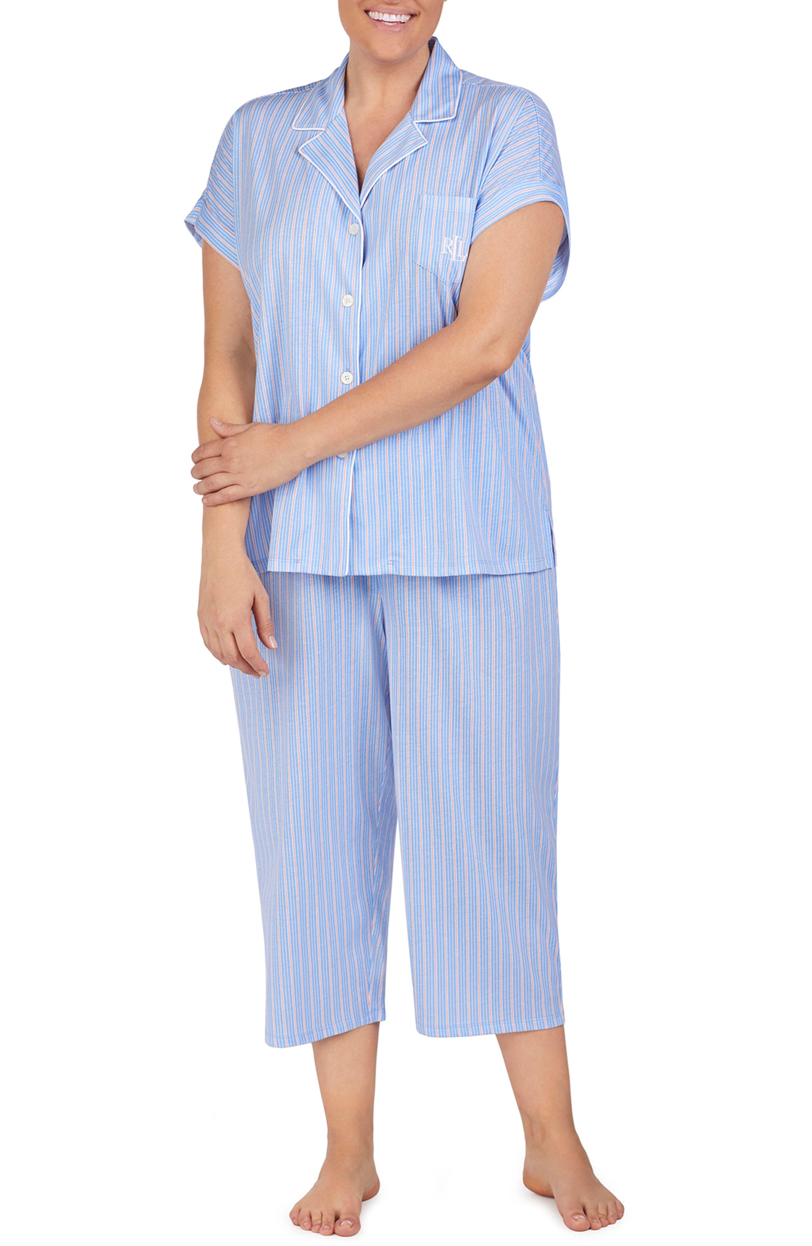 LAUREN RALPH LAUREN, Capri Pajamas, Alternate thumbnail 2, color, BLUE STRIPE
