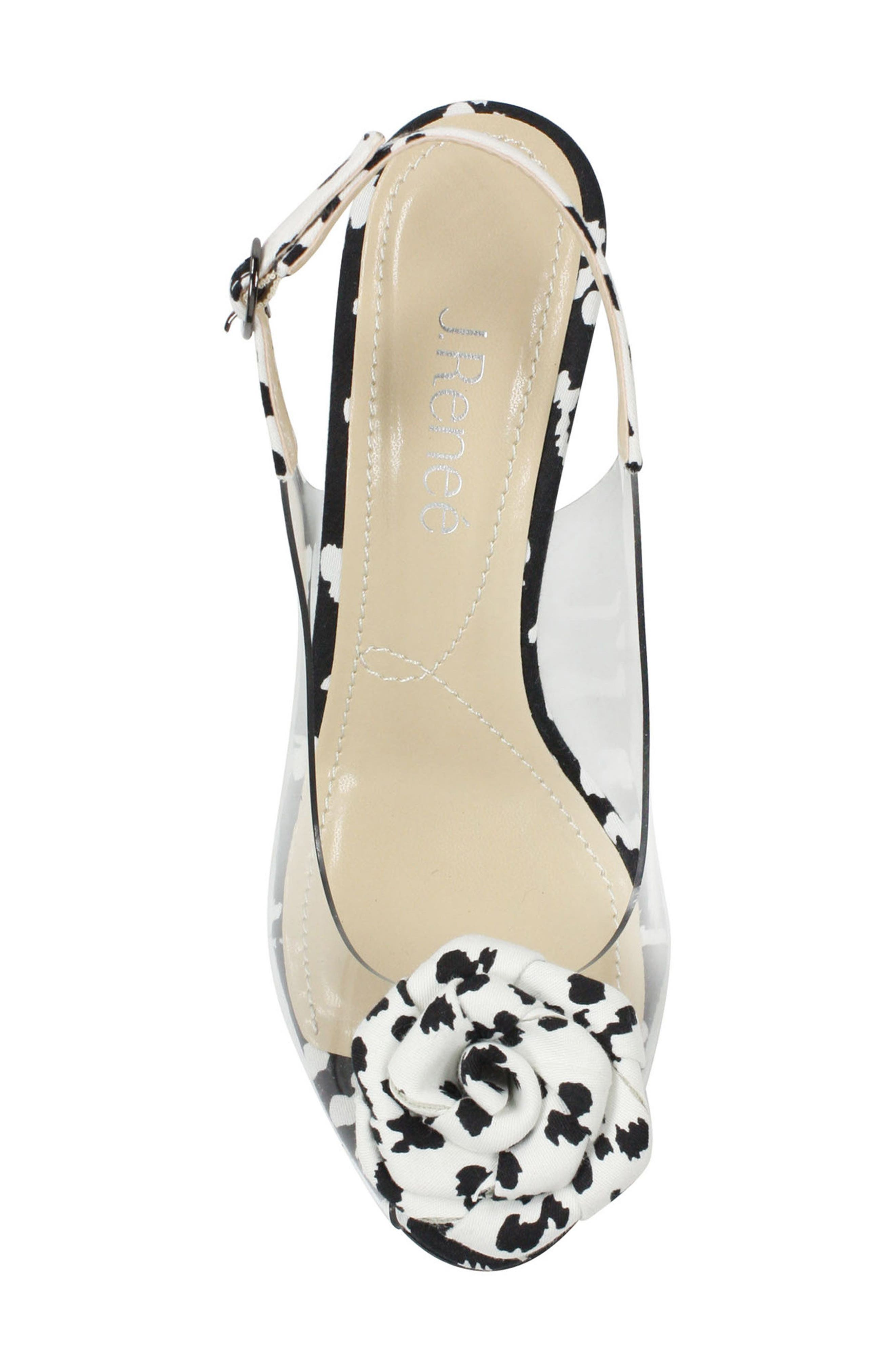 J. RENEÉ, Adoracion Slingback Sandal, Alternate thumbnail 5, color, CLEAR/ BLACK/ WHITE