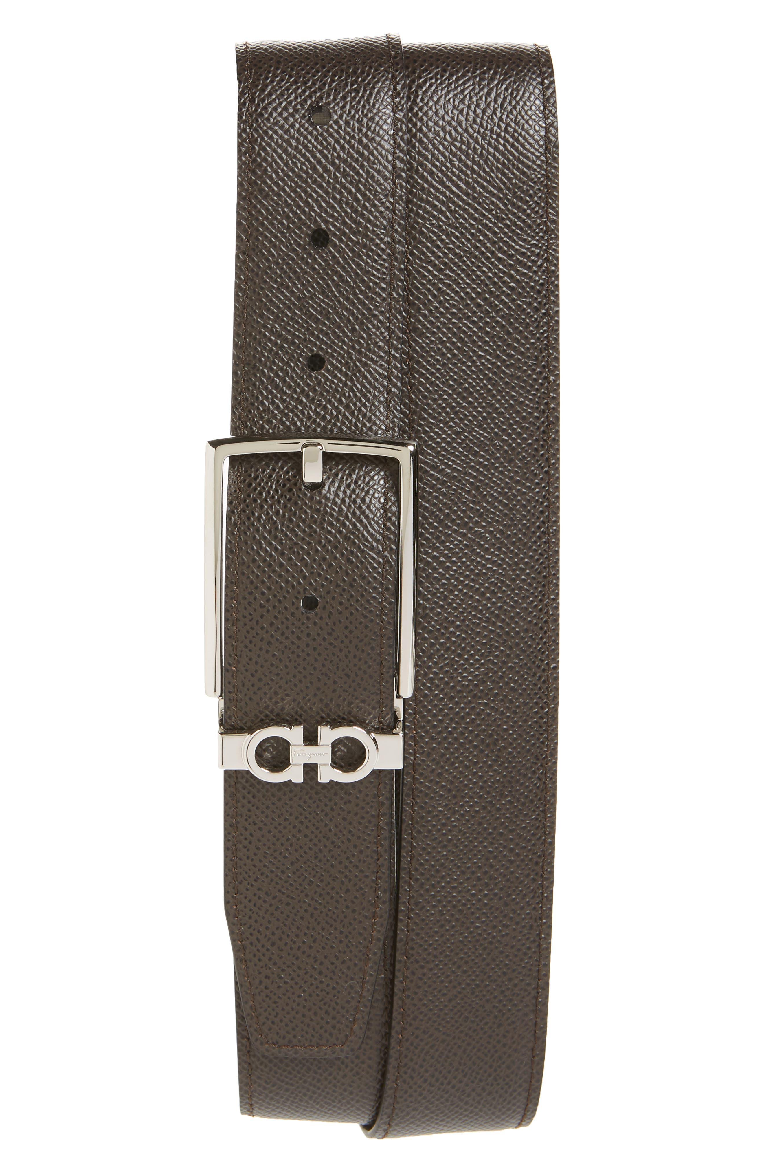 SALVATORE FERRAGAMO, Reversible Leather Belt, Alternate thumbnail 2, color, NERO / T.MORO