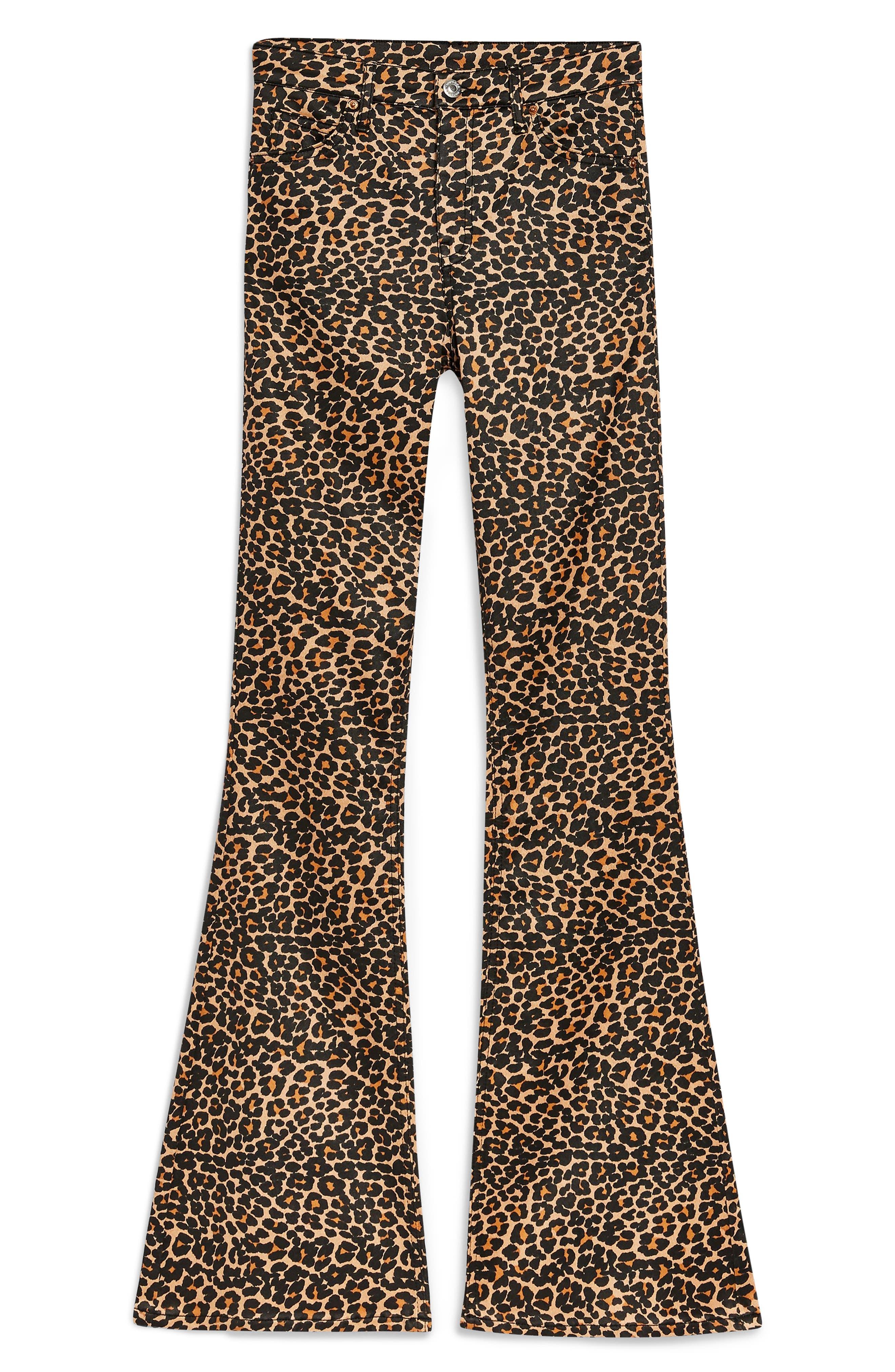 TOPSHOP, MOTO Leopard Print Flare Jeans, Alternate thumbnail 4, color, 200
