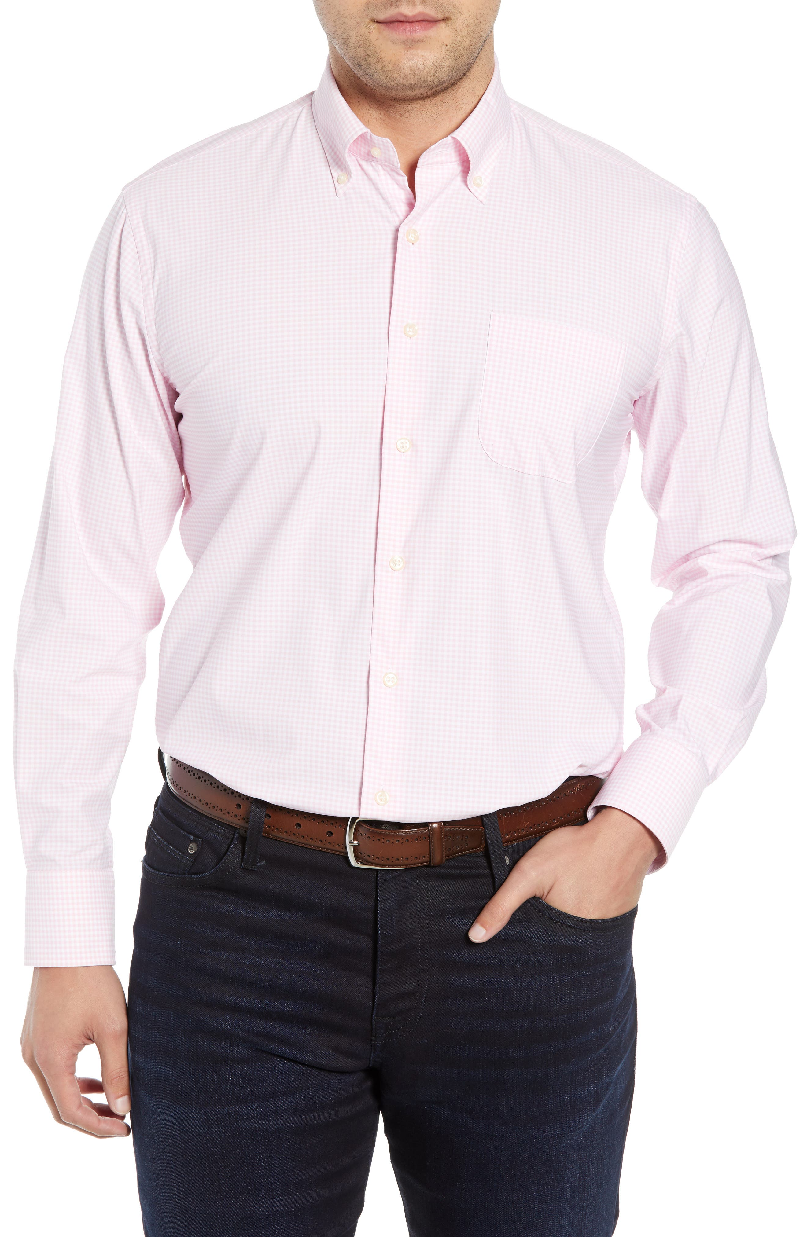 PETER MILLAR Check Performance Sport Shirt, Main, color, PALMER PINK