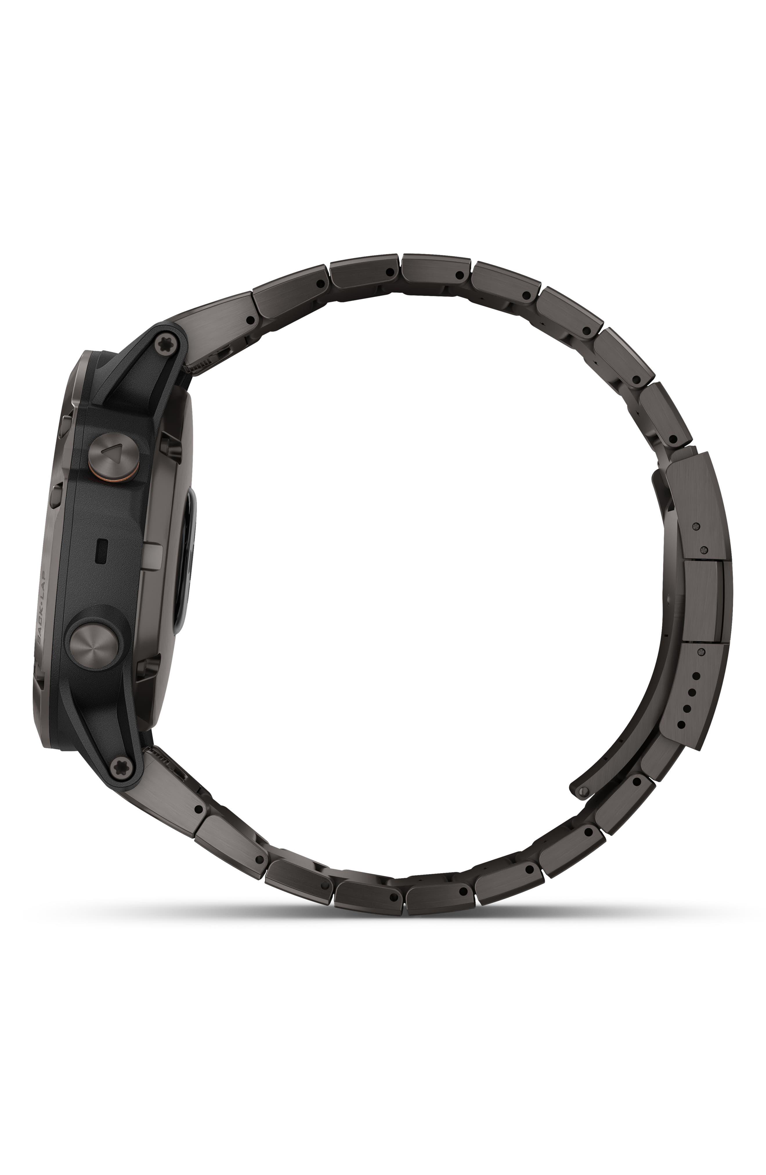 GARMIN, fenix<sup>®</sup> 5X Plus Sapphire Premium Multisport GPS Watch, 51mm, Alternate thumbnail 5, color, CARBON GRAY