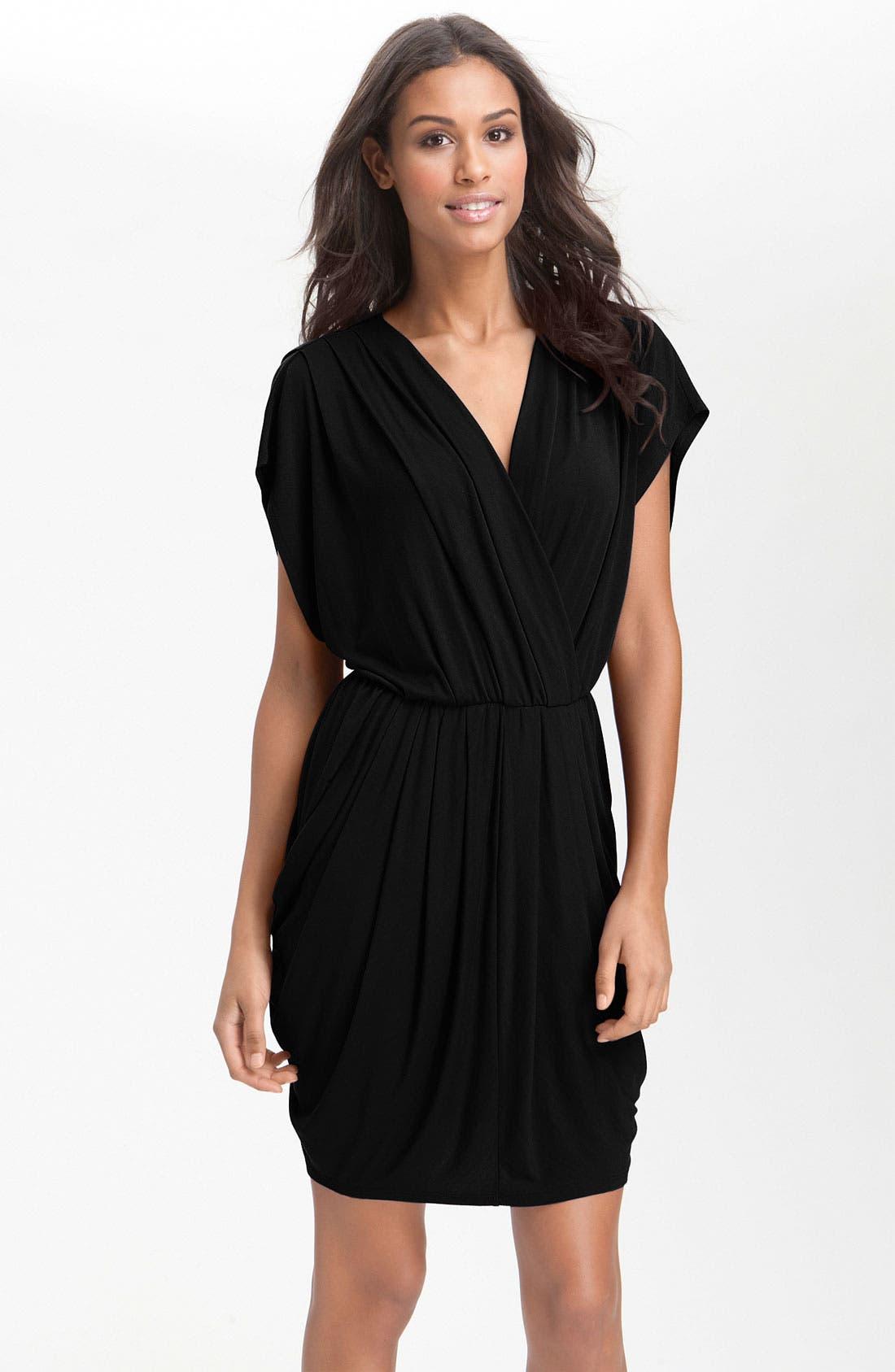 HALOGEN<SUP>®</SUP>, Faux Wrap Pleated Dress, Main thumbnail 1, color, 001