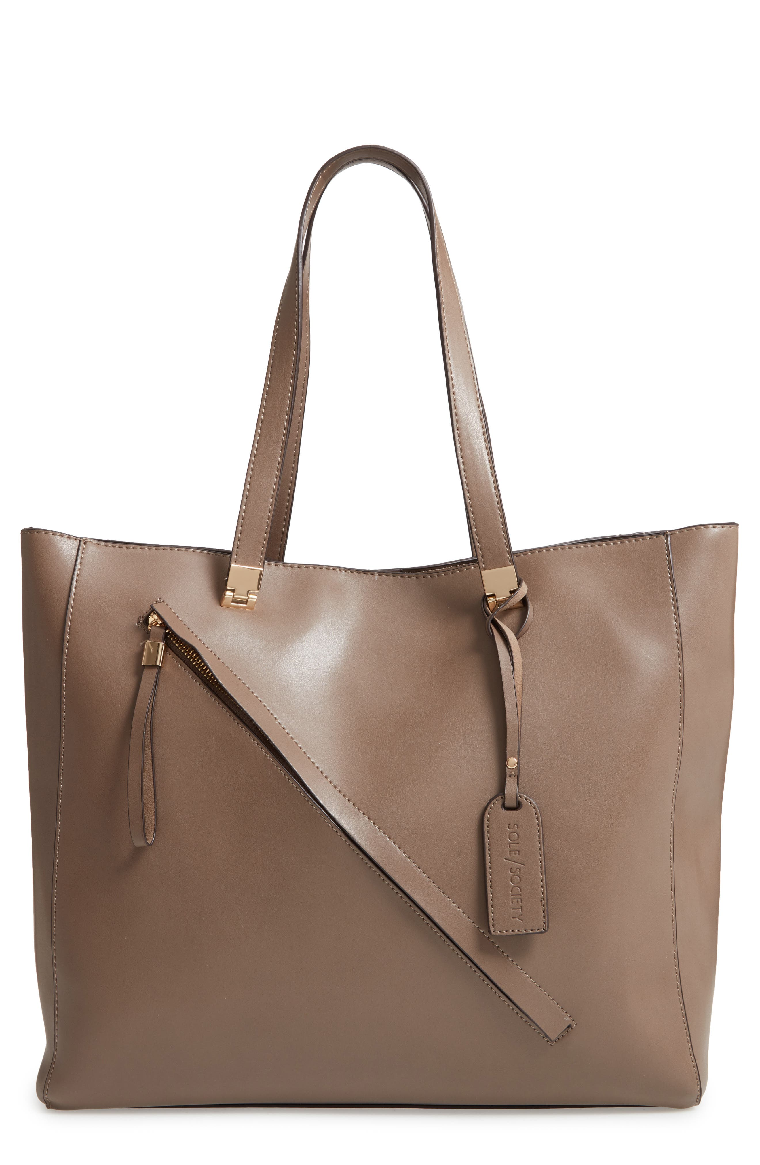 SOLE SOCIETY Nycky Faux Leather Tote, Main, color, 250