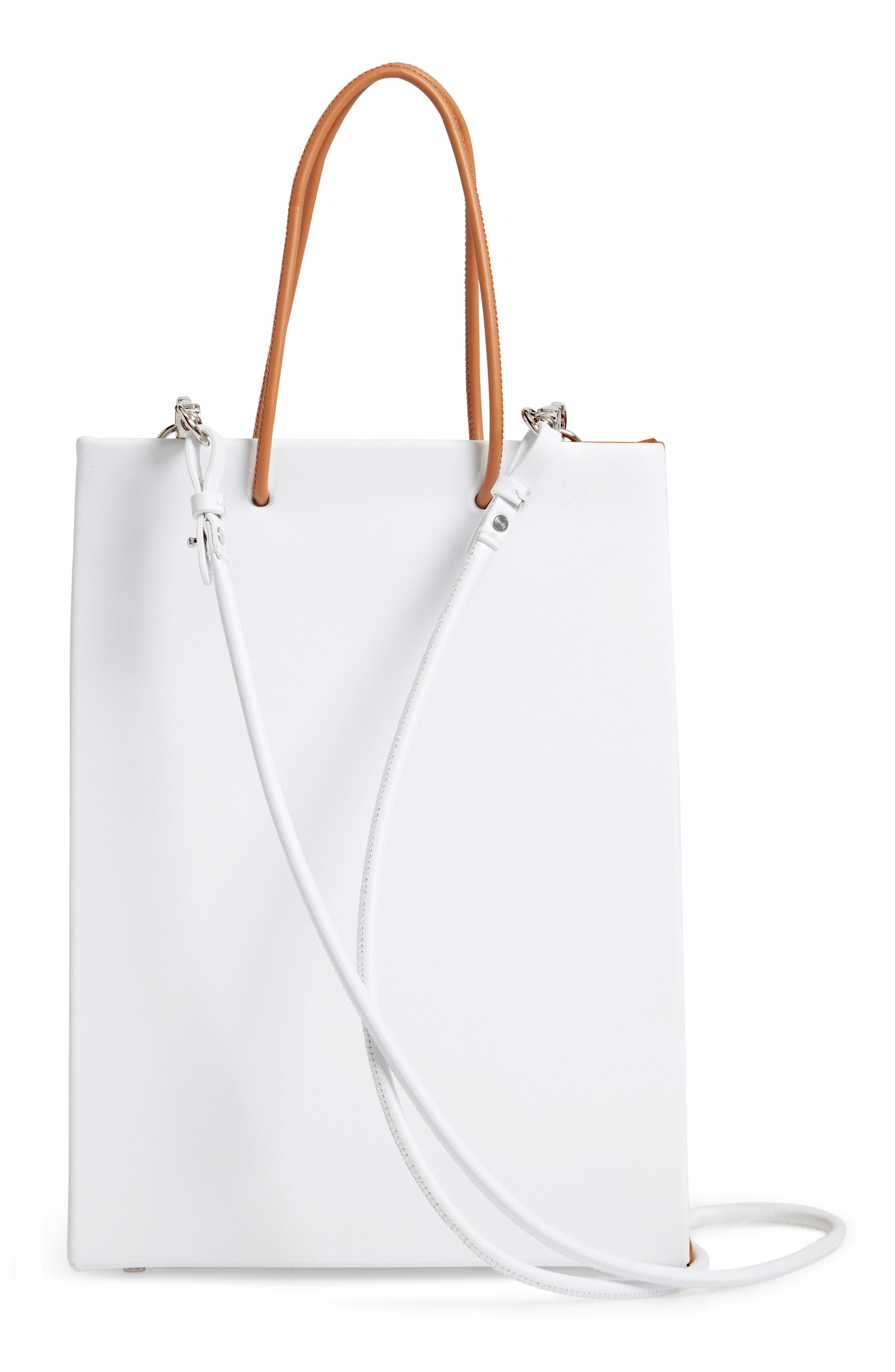 MEDEA, Prima Tall Bicolor Calfskin Leather Bag, Alternate thumbnail 3, color, BROW AND WHITE
