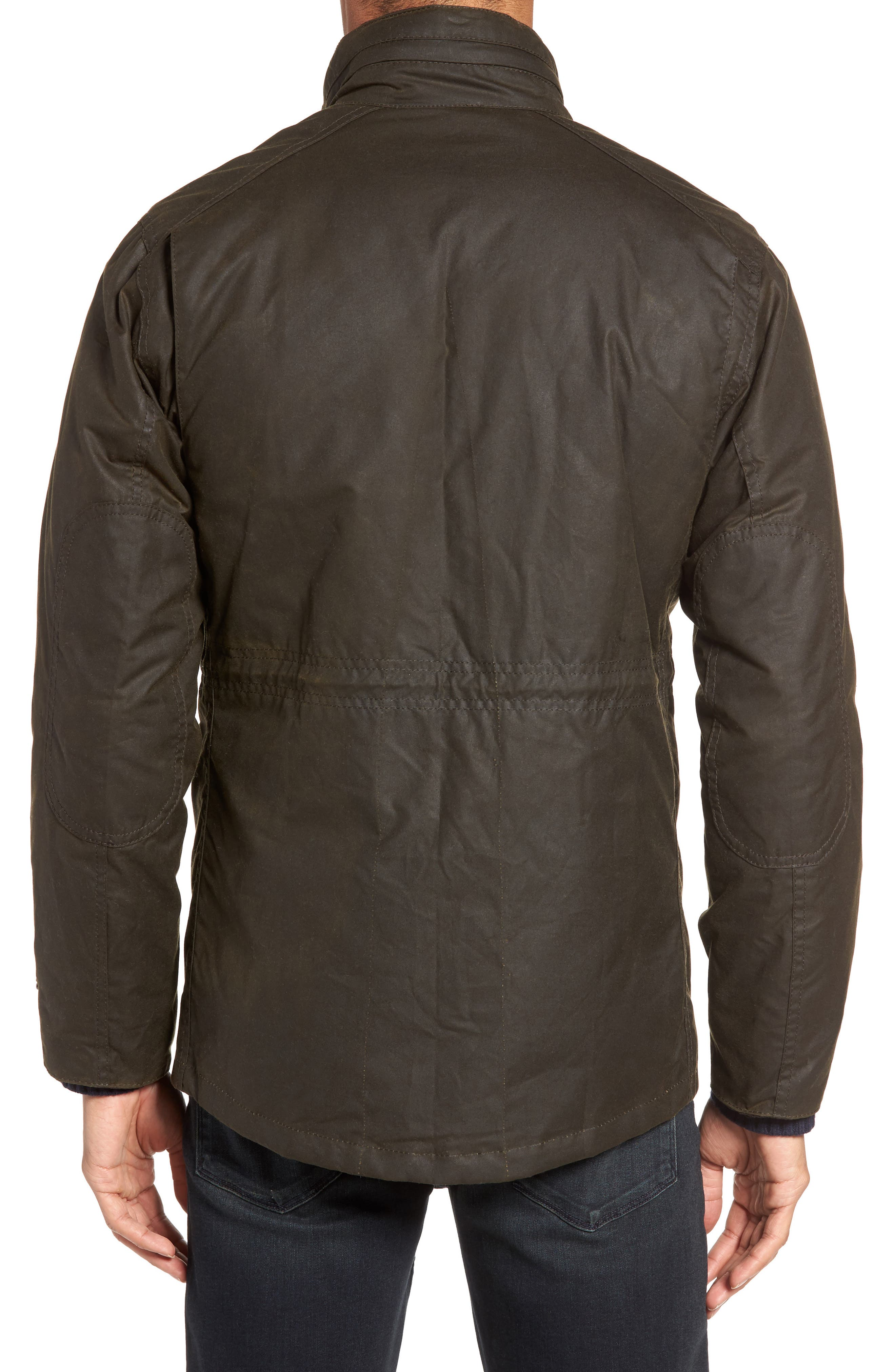 BARBOUR, Sapper Regular Fit Weatherproof Waxed Cotton Jacket, Alternate thumbnail 2, color, OLIVE