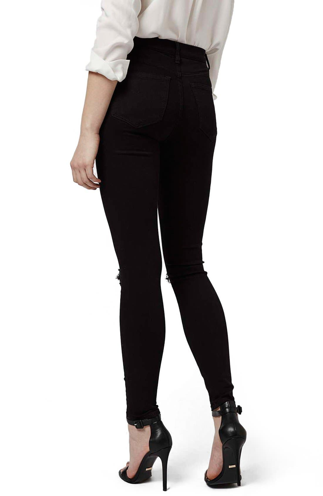TOPSHOP, Ripped High Waist Ankle Skinny Jeans, Alternate thumbnail 9, color, 001