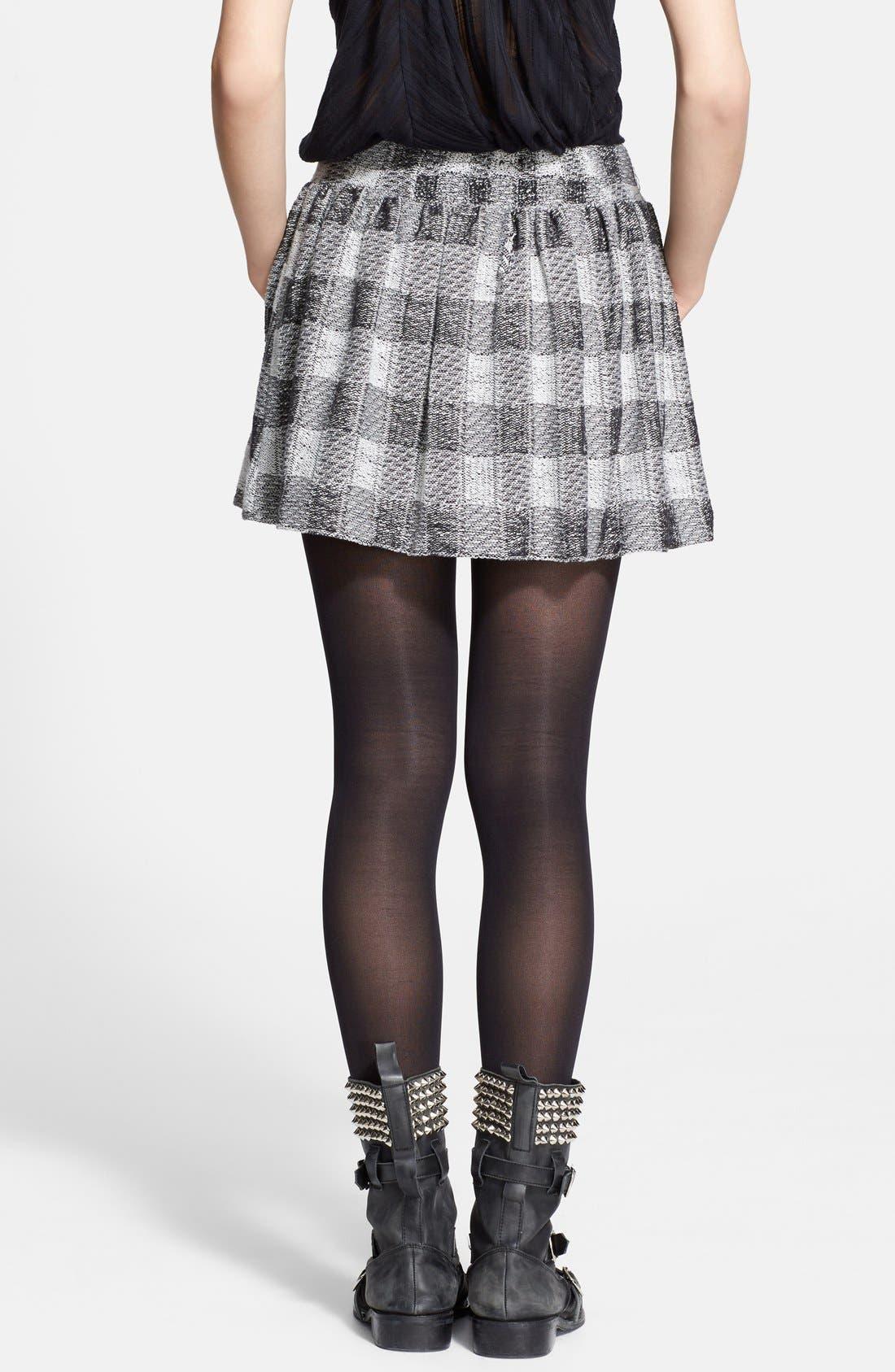 FREE PEOPLE, Plaid Flared Miniskirt, Alternate thumbnail 3, color, 001