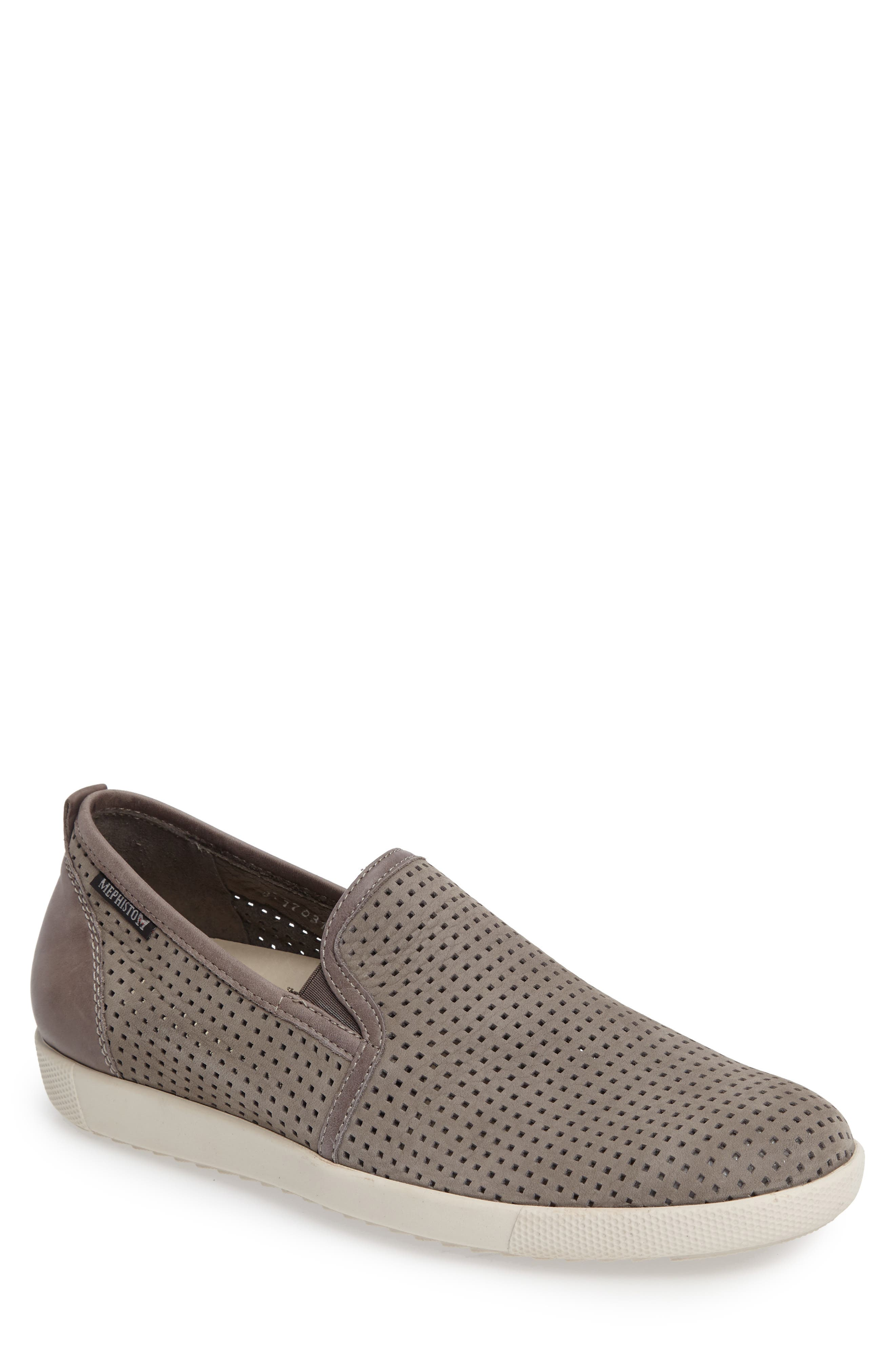 MEPHISTO, 'Ulrich' Perforated Leather Slip-On, Main thumbnail 1, color, LIGHT GREY SPORTBUCK