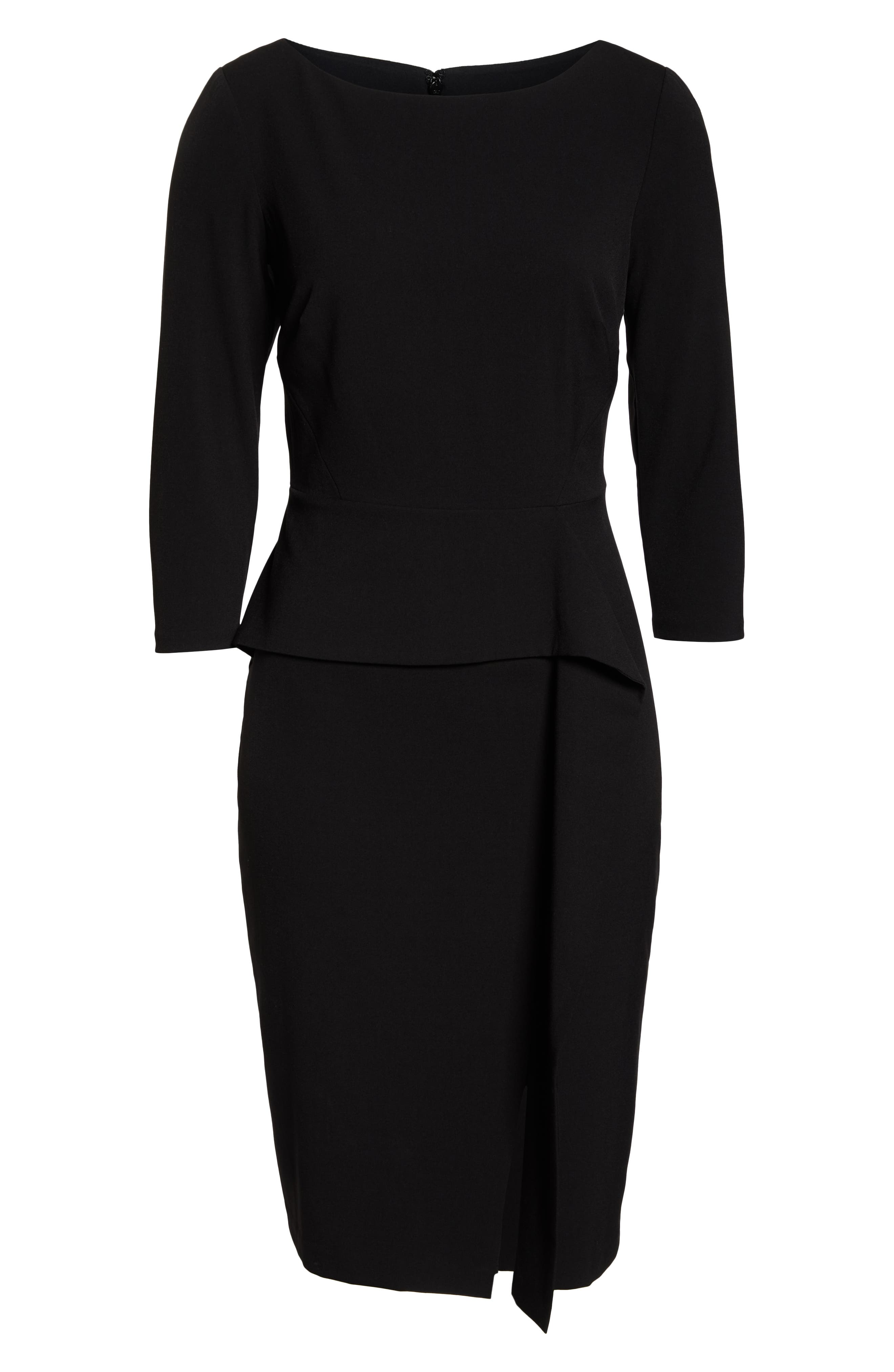 VINCE CAMUTO, Angled Ruffle Sheath Dress, Alternate thumbnail 7, color, BLACK