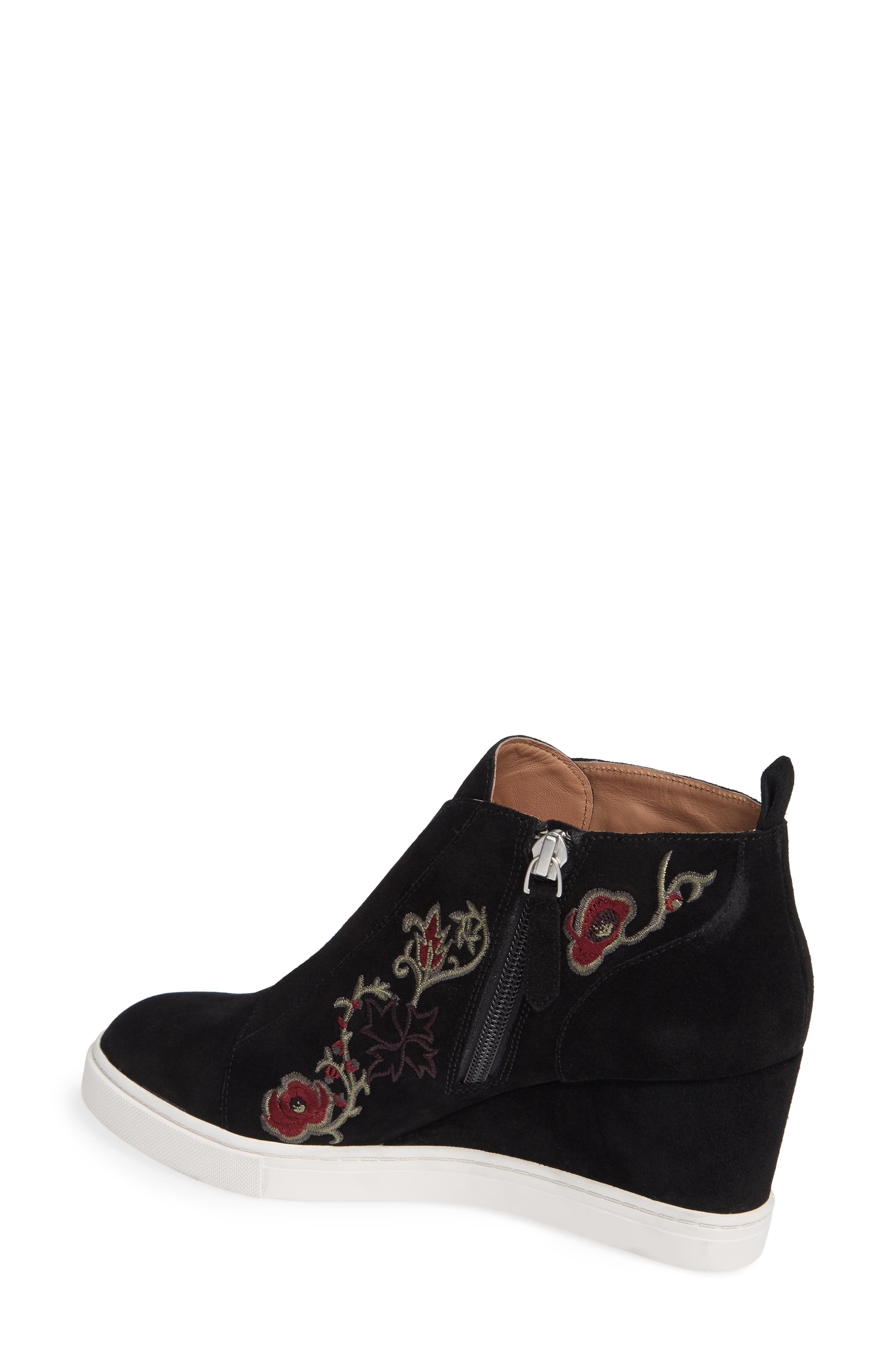 LINEA PAOLO, Felicia II Wedge Bootie, Alternate thumbnail 2, color, BLACK/ BLACK EMBROIDERY SUEDE