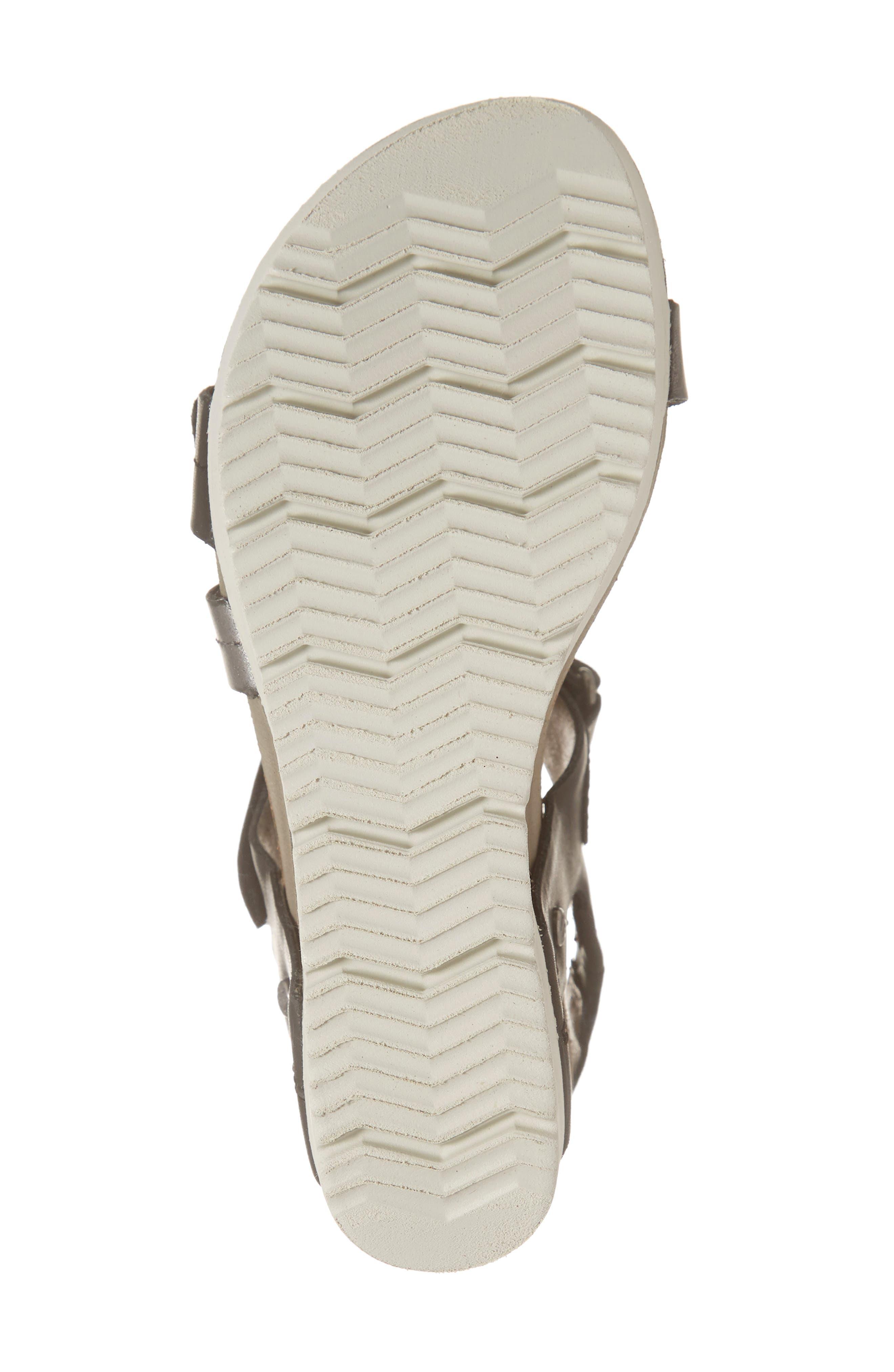 OTBT, Wavey Wedge Sandal, Alternate thumbnail 6, color, NEW BLACK LEATHER