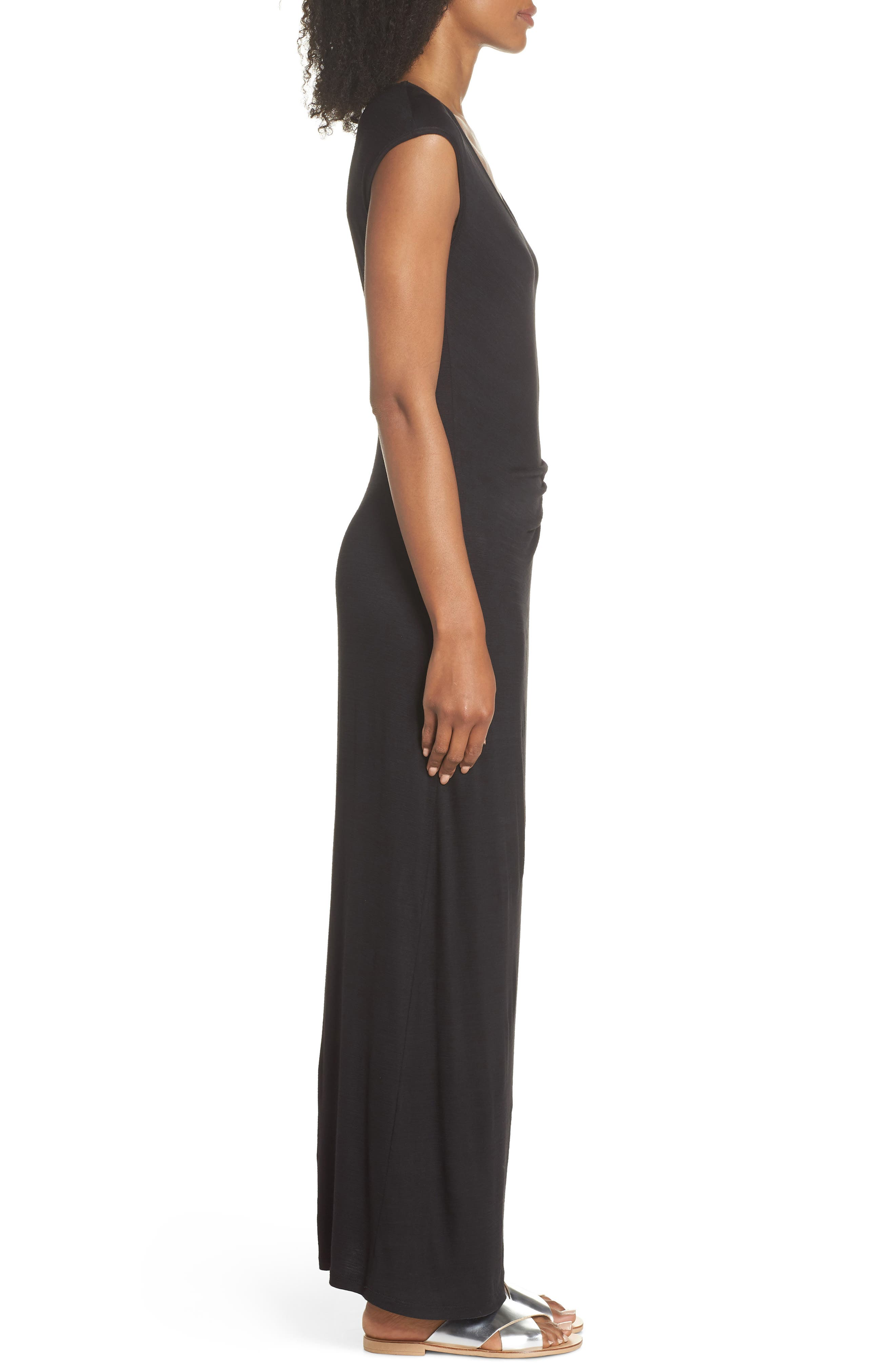 FRAICHE BY J, Ruched Jersey Maxi Dress, Alternate thumbnail 4, color, BLACK