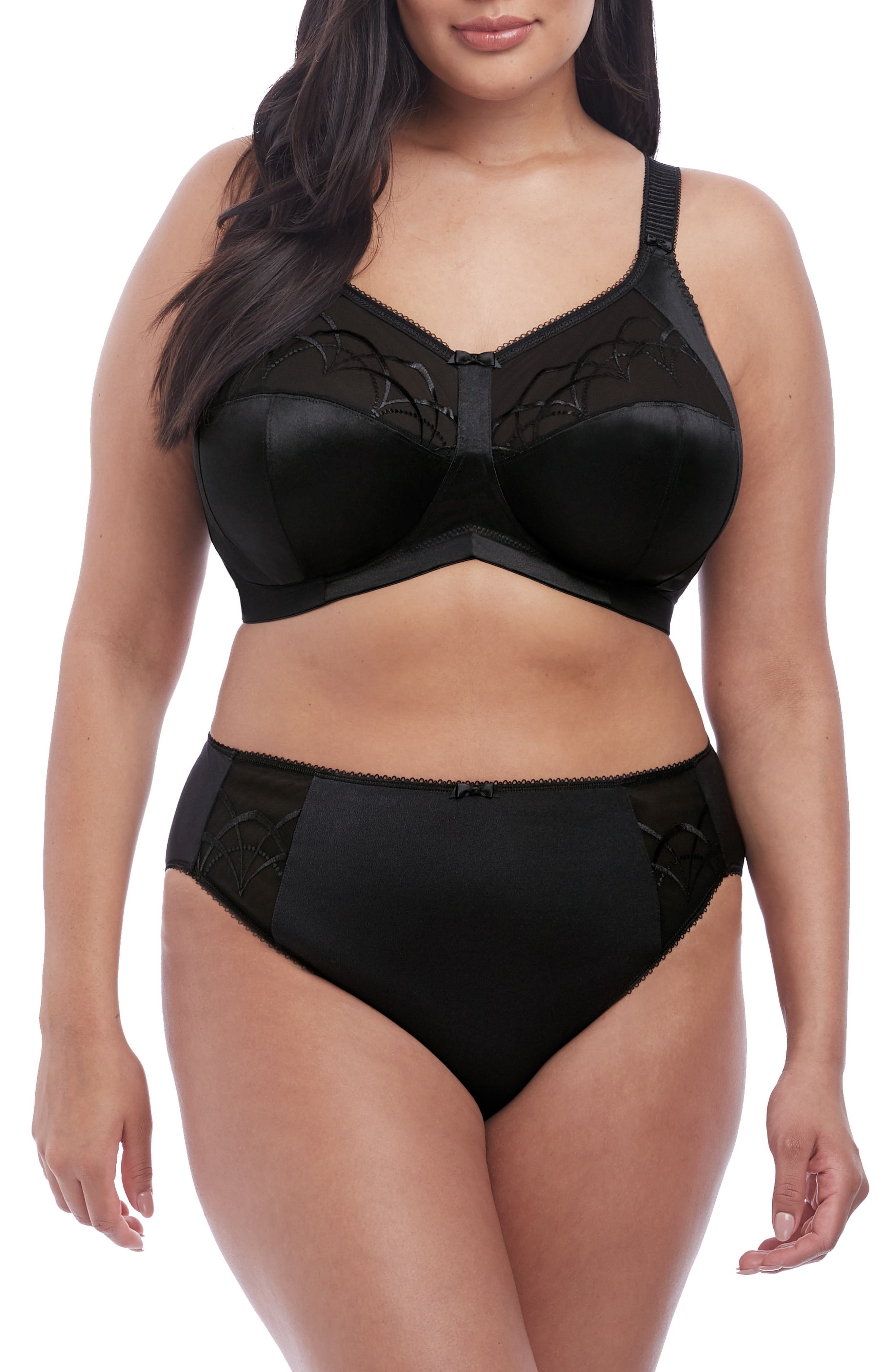 ELOMI, 'Cate' Soft Cup Bra, Alternate thumbnail 9, color, BLACK