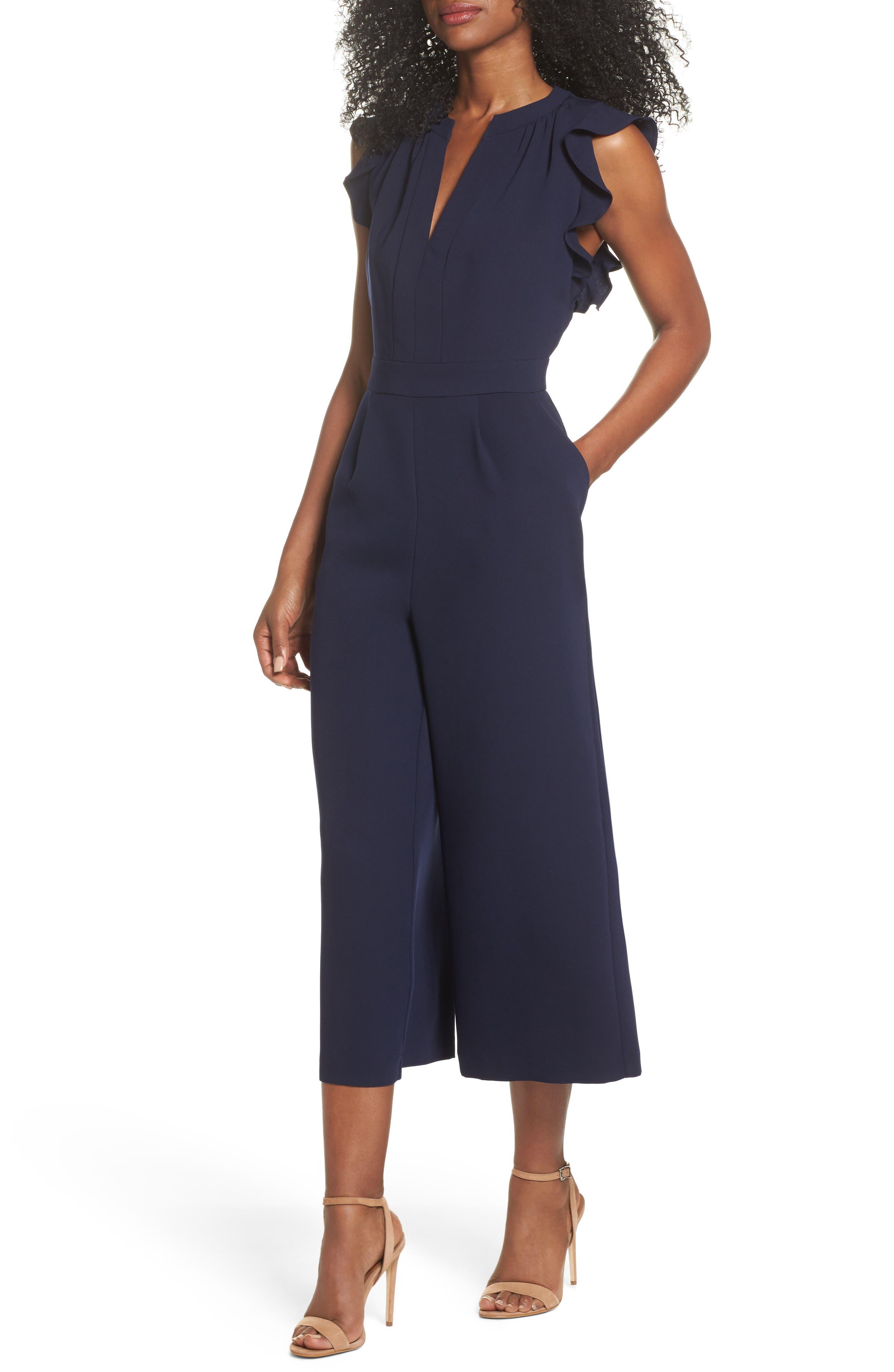 VINCE CAMUTO Ruffle Wide Leg Crop Jumpsuit, Main, color, NAVY