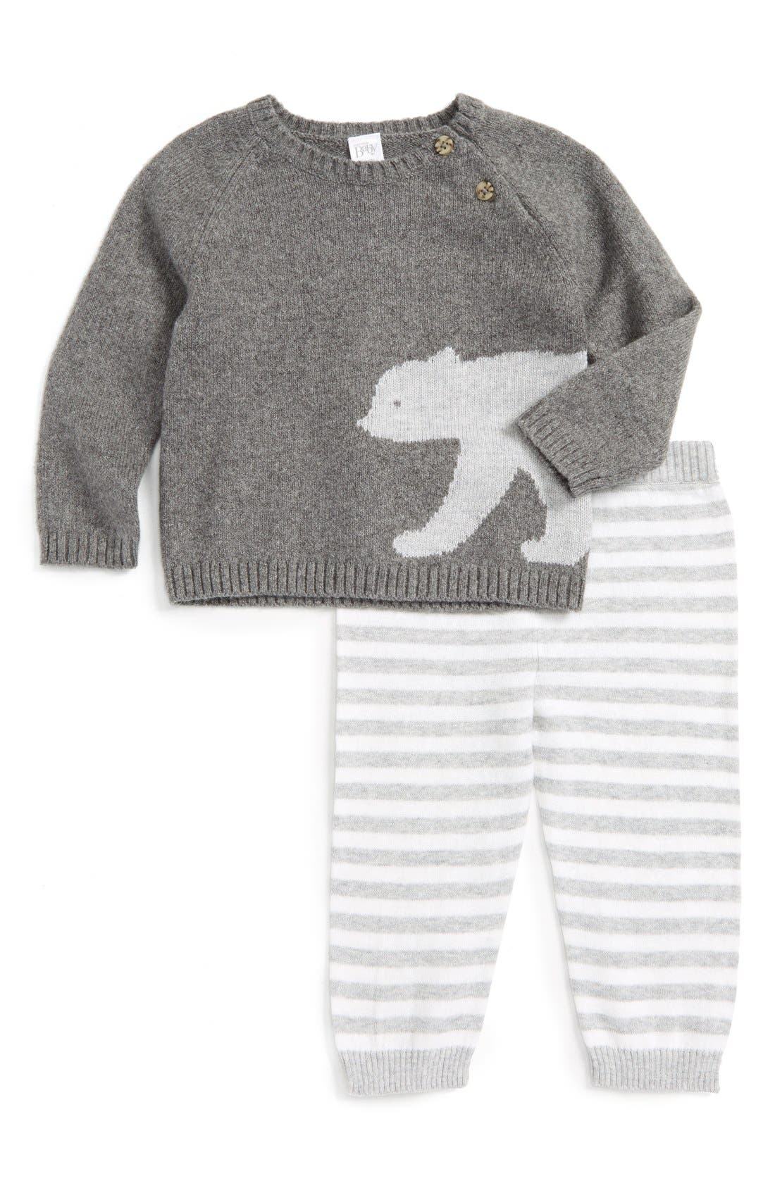 NORDSTROM BABY, Knit Sweater & Pants Set, Main thumbnail 1, color, 050