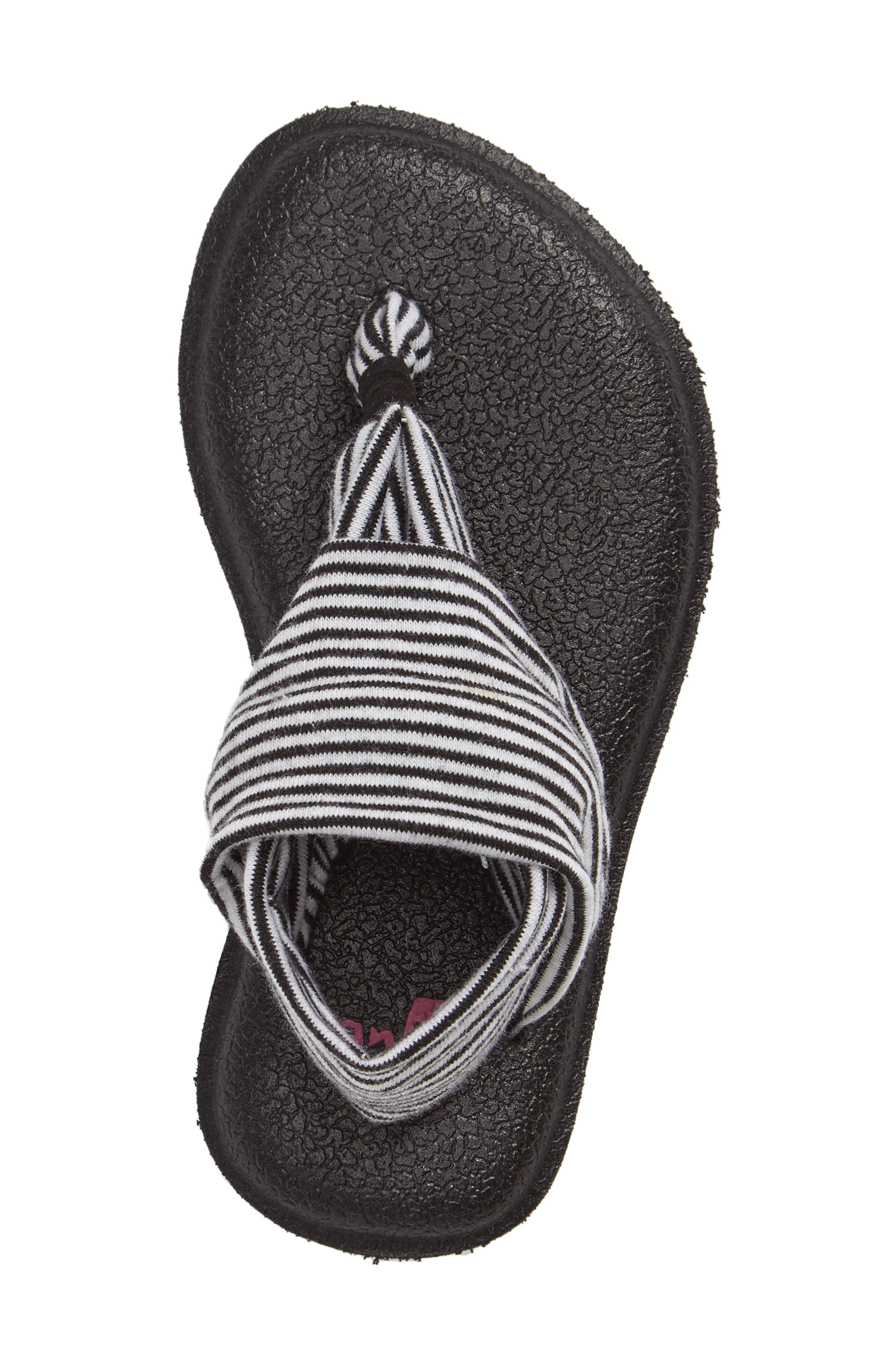 SANUK, 'Yoga Sling' Sandal, Alternate thumbnail 3, color, BLACK/ WHITE STRIPE
