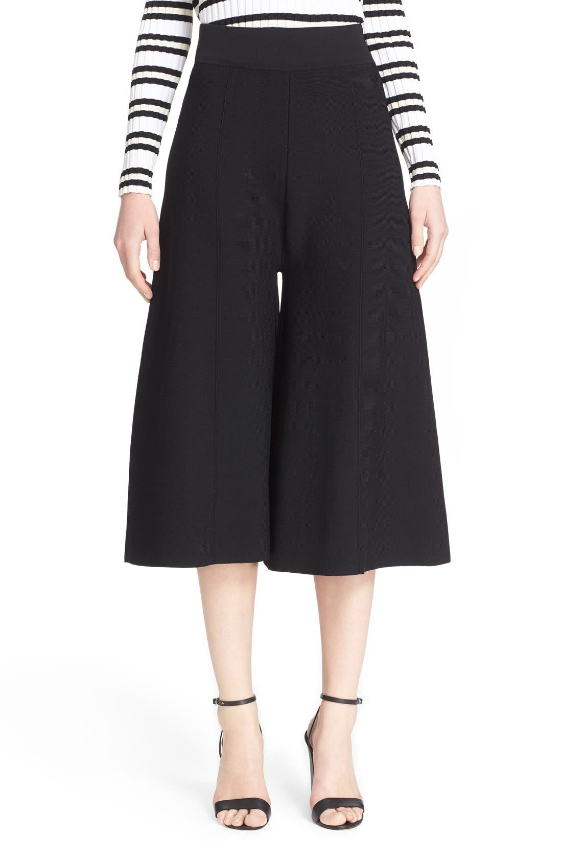MILLY, Knit Culottes, Main thumbnail 1, color, 001