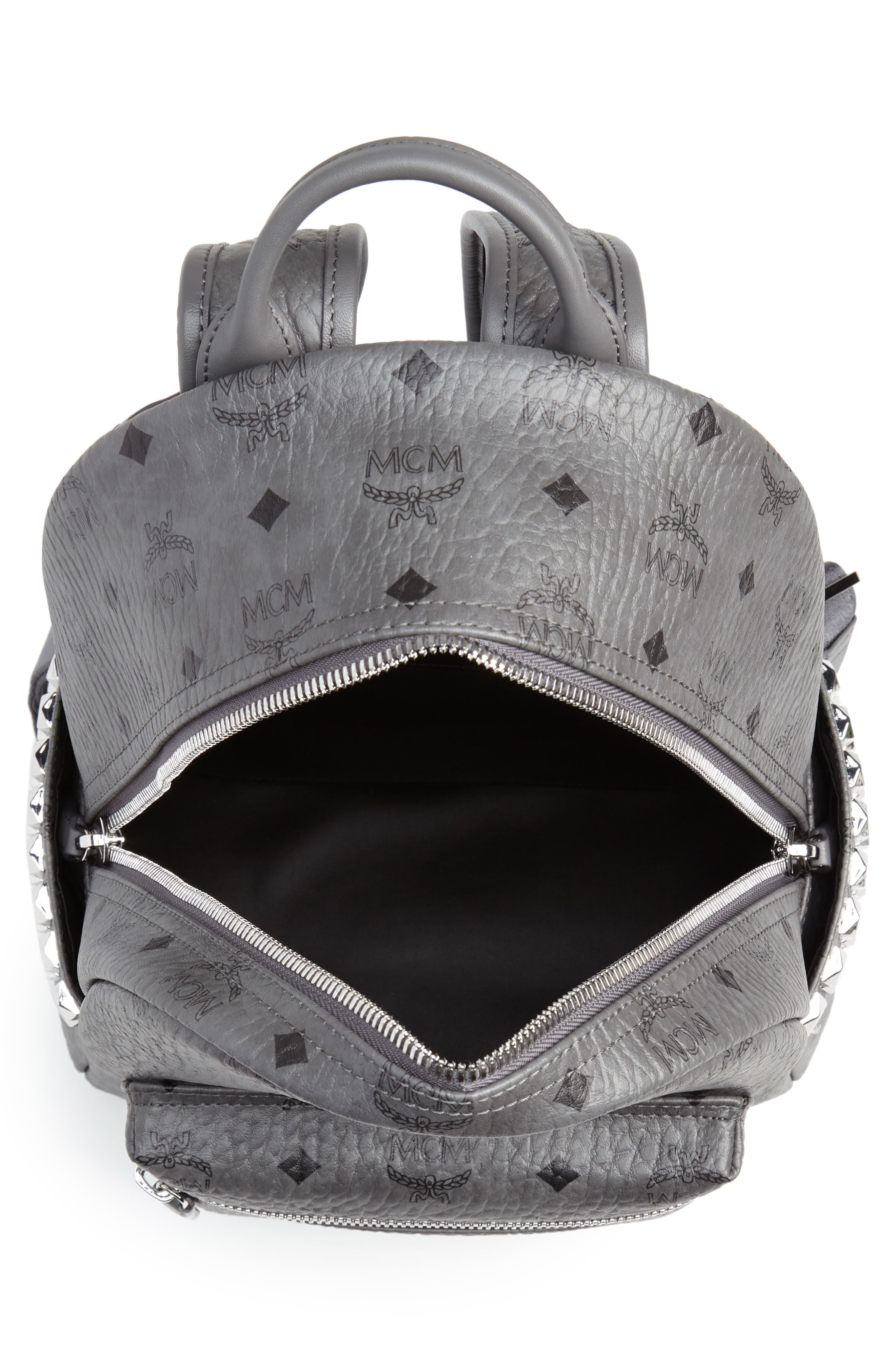 MCM, Small Stark Side Stud Backpack, Alternate thumbnail 5, color, PHANTOM GREY