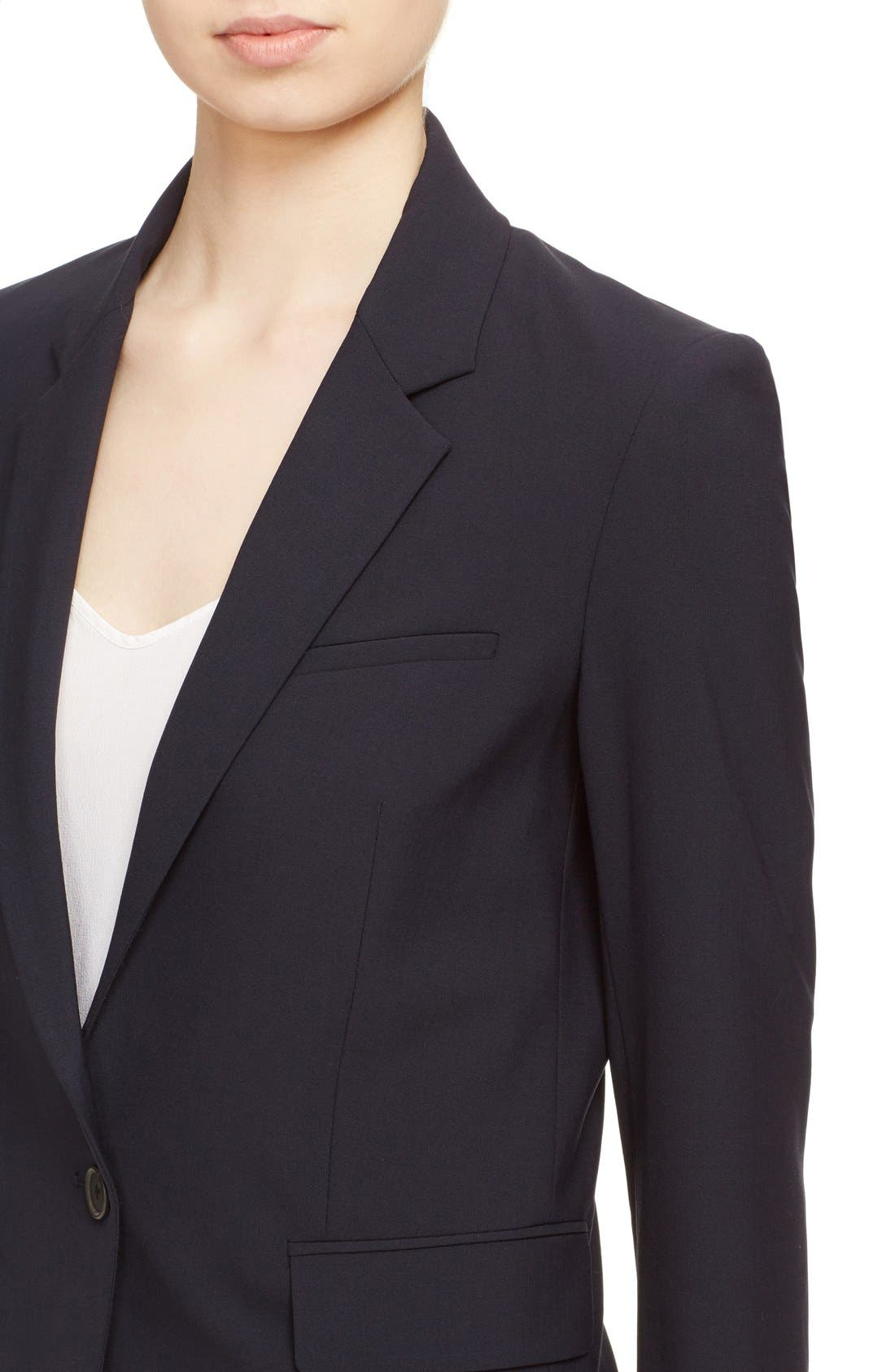 VERONICA BEARD, 'Classic' Lambswool Blend Single Button Blazer, Alternate thumbnail 4, color, NAVY